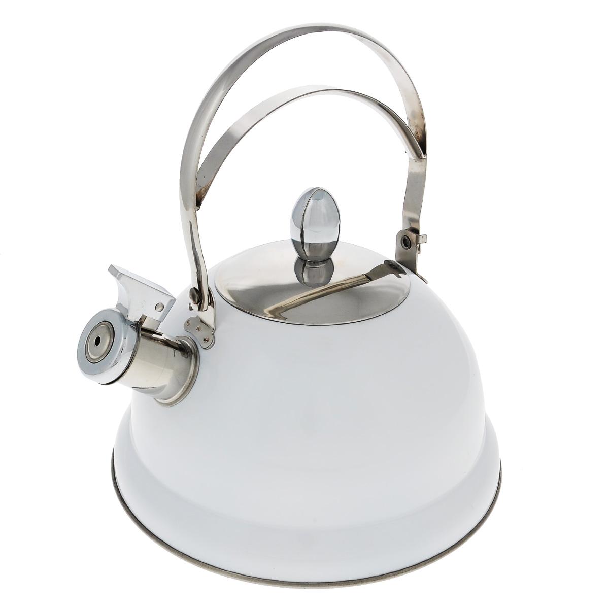 Чайник Bekker De Luxe, со свистком, цвет: белый, 2,6 л. BK-S408115510Чайник Bekker De Luxe изготовлен из высококачественной нержавеющей стали 18/10 с цветным эмалевым покрытием. Капсулированное дно распределяет тепло по всей поверхности, что позволяет чайнику быстро закипать. Ручка подвижная. Носик оснащен откидным свистком, который подскажет, когда вода закипела. Свисток открывается и закрывается с помощью специального рычага. Подходит для всех типов плит, включая индукционные. Можно мыть в посудомоечной машине.Диаметр (по верхнему краю): 10 см. Диаметр основания: 22 см. Высота чайника (без учета ручки): 13 см.