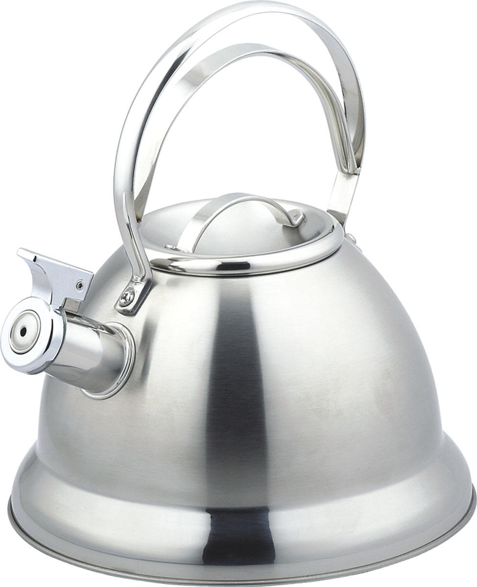 Чайник Bekker De Luxe со свистком, 2,5 л. BK-S42594672Чайник Bekker De Luxe изготовлен из высококачественной нержавеющей стали. Поверхность матовая с зеркальной полосой у основания. Капсулированное дно распределяет тепло по всей поверхности, что позволяет чайнику быстро закипать. Ручка фиксированная. Носик оснащен откидным свистком, который подскажет, когда вода закипела.Подходит для всех типов плит, включая индукционные. Можно мыть в посудомоечной машине.