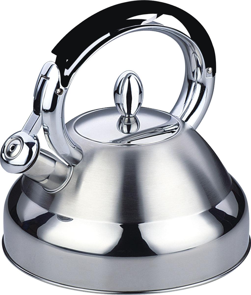 Чайник Bekker De Luxe со свистком, 2,7 л. BK-S426115510Чайник Bekker De Luxe изготовлен из высококачественной нержавеющей стали 18/10. Поверхность матовая с зеркальной полосой по нижнему краю. Капсулированное дно распределяет тепло по всей поверхности, что позволяет чайнику быстро закипать. Эргономичная фиксированная рукоятка выполнена из нержавеющей стали и бакелита с прорезиненным покрытием. Носик оснащен откидным свистком, который подскажет, когда вода закипела. Свисток открывается и закрывается нажатием на рукоятку. Оригинальный дизайн эффектно оформит интерьер кухни.Подходит для всех типов плит, включая индукционные. Можно мыть в посудомоечной машине.