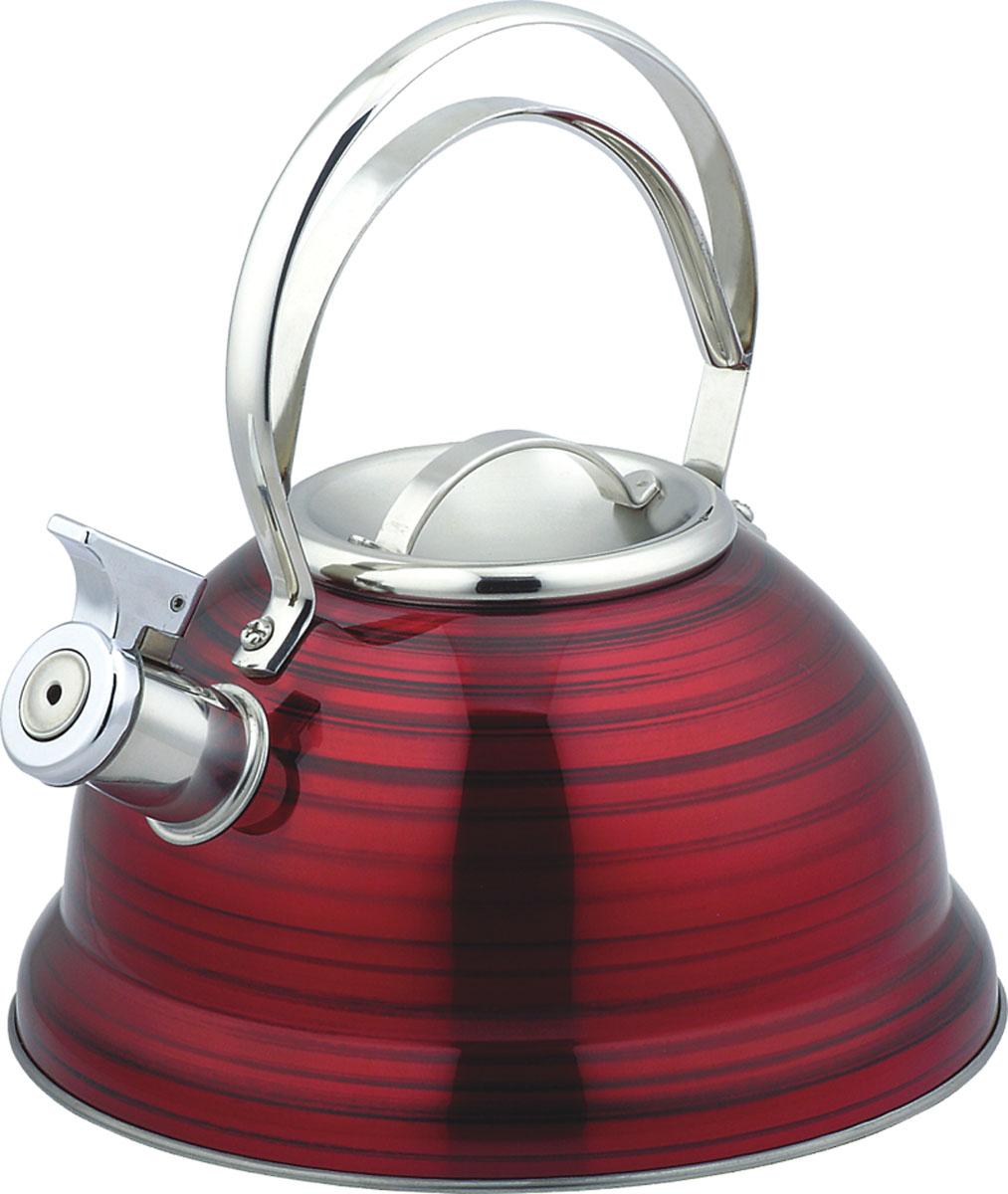 Чайник Bekker De Luxe, со свистком, 2,5 л. BK-S42854 009312Чайник Bekker De Luxe изготовлен из высококачественной нержавеющей стали с цветным матовым покрытием в полоску. Капсулированное дно распределяет тепло по всей поверхности, что позволяет чайнику быстро закипать. Крышка и эргономичная фиксированная ручка выполнены из нержавеющей стали. Носик оснащен откидным свистком, который подскажет, когда закипела вода. Подходит для всех типов плит, кроме индукционных. Можно мыть в посудомоечной машине. Диаметр (по верхнему краю): 10 см. Диаметр основания: 22 см. Толщина стенки: 0,4 мм.Высота чайника (без учета ручки и крышки): 11,5 см. Высота чайника (с учетом ручки и крышки): 23,5 см.
