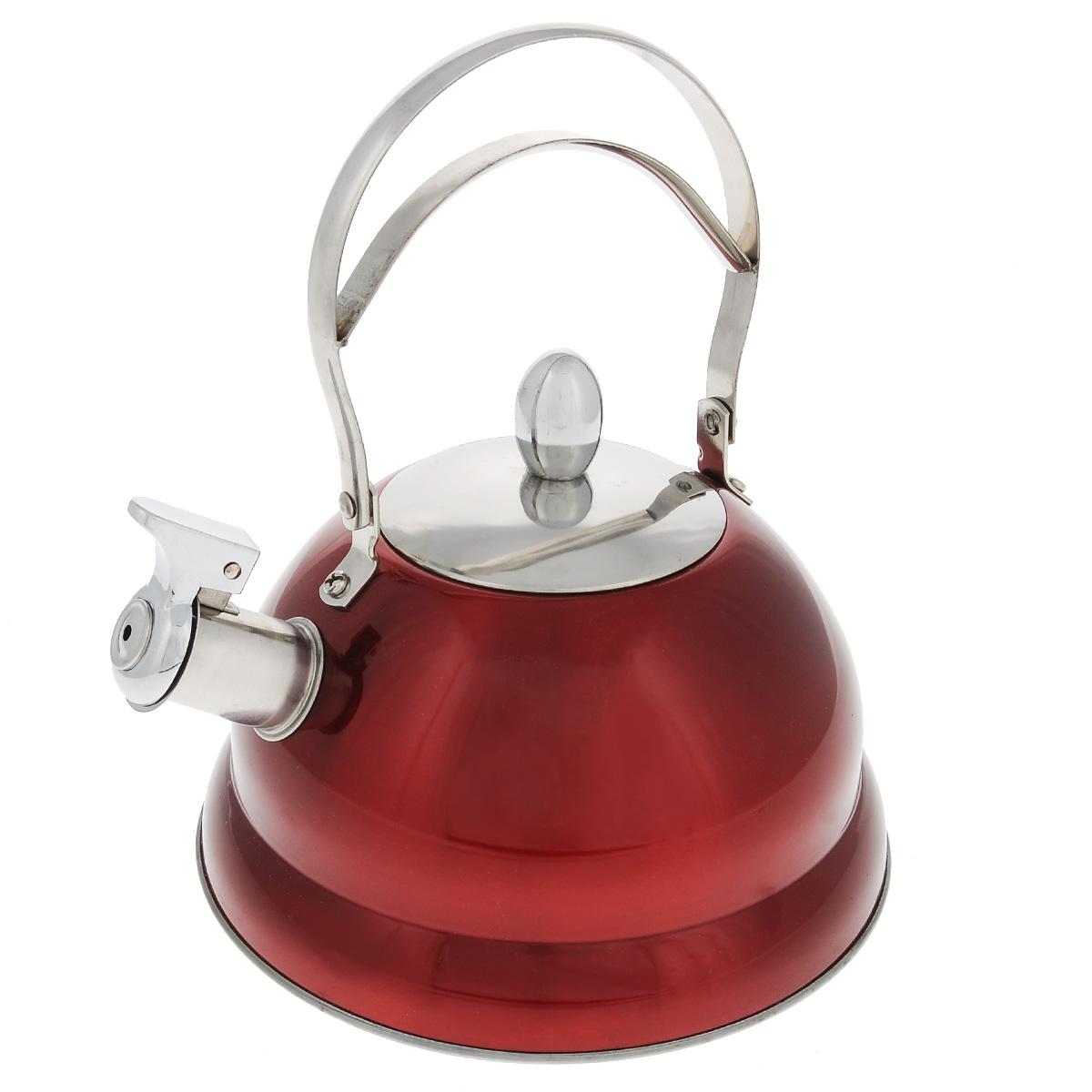 Чайник Bekker De Luxe со свистком, цвет: красный, 2,7 л. BK-S45954 009312Чайник Bekker De Luxe изготовлен из высококачественной нержавеющей стали 18/10 с цветным эмалевым покрытием. Капсулированное дно распределяет тепло по всей поверхности, что позволяет чайнику быстро закипать. Ручка подвижная. Носик оснащен откидным свистком, который подскажет, когда вода закипела. Свисток открывается и закрывается рычагом на носике. Подходит для всех типов плит, включая индукционные. Можно мыть в посудомоечной машине.Диаметр (по верхнему краю): 10 см. Диаметр основания: 22 см. Высота чайника (без учета ручки): 11,5 см. Высота чайника (с учетом ручки): 25 см.