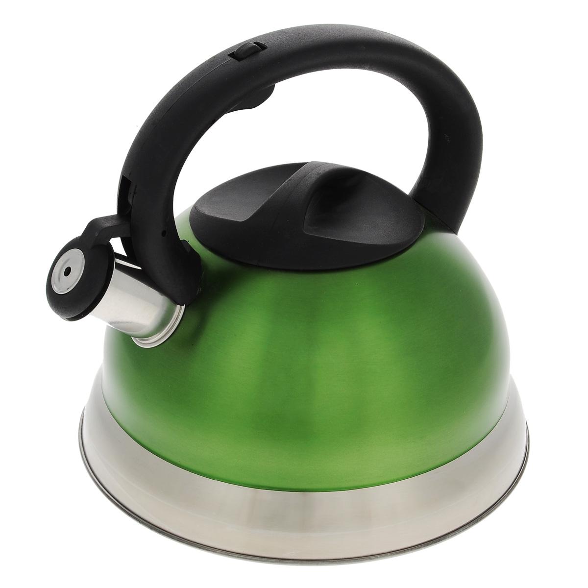 Чайник Bekker Premium со свистком, цвет: зеленый, 2,7 л. BK-S461115510Чайник Bekker Premium изготовлен из высококачественной нержавеющей стали 18/10 с цветным матовым покрытием. Капсулированное дно распределяет тепло по всей поверхности, что позволяет чайнику быстро закипать. Крышка и эргономичная фиксированная ручка выполнены из бакелита черного цвета. Носик оснащен откидным свистком, который подскажет, когда закипела вода. Свисток открывается и закрывается нажатием кнопки на рукоятке. Подходит для всех типов плит, включая индукционные. Можно мыть в посудомоечной машине. Высота чайника (без учета ручки): 11,5 см. Высота чайника (с учетом ручки): 21 см.Толщина стенки: 0,4 мм.