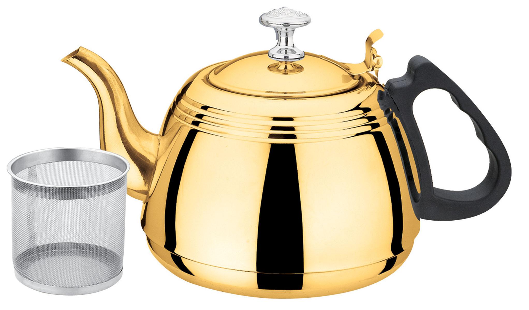 Чайник заварочный Bekker, с ситечком, цвет: золотистый, 1 л115510Чайник Bekker выполнен из высококачественной нержавеющей стали, что обеспечивает долговечность использования. Внешнее зеркальное покрытие придает приятный внешний вид. Бакелитовая ручка делает использование чайника очень удобным и безопасным. Чайник снабжен ситечком для заваривания. Можно мыть в посудомоечной машине. Пригоден для всех видов плит, включая индукционные.Высота чайника (без учета крышки и ручки): 8,4 см.Диаметр основания: 12 см. Толщина стенки: 0,4 мм.Толщина дна: 1 мм.Высота ситечка: 7,3 см.