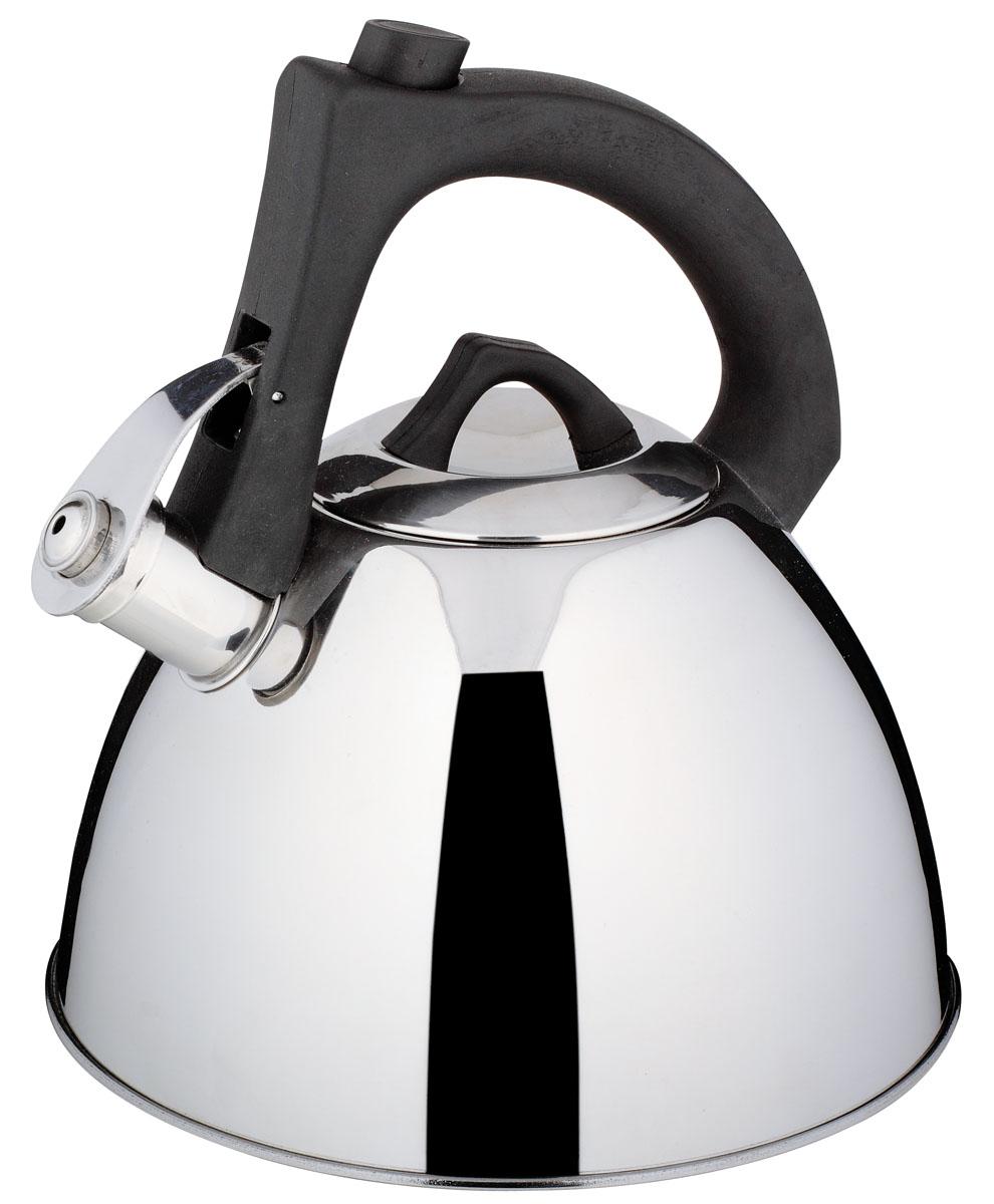 Чайник Bekker De Luxe со свистком, 2,7 л94672Чайник Bekker De Luxe выполнен из высококачественной нержавеющей стали, что обеспечивает долговечность использования. Внешнее зеркальное покрытие придает приятный внешний вид. Бакелитовая фиксированная ручка с силиконовым покрытием делает использование чайника очень удобным и безопасным. Чайник снабжен свистком и устройством для открывания носика, которое находится на ручке. Изделие оснащено капсулированным дном для лучшего распространения тепла.Можно мыть в посудомоечной машине. Пригоден для всех видов плит, включая индукционные.