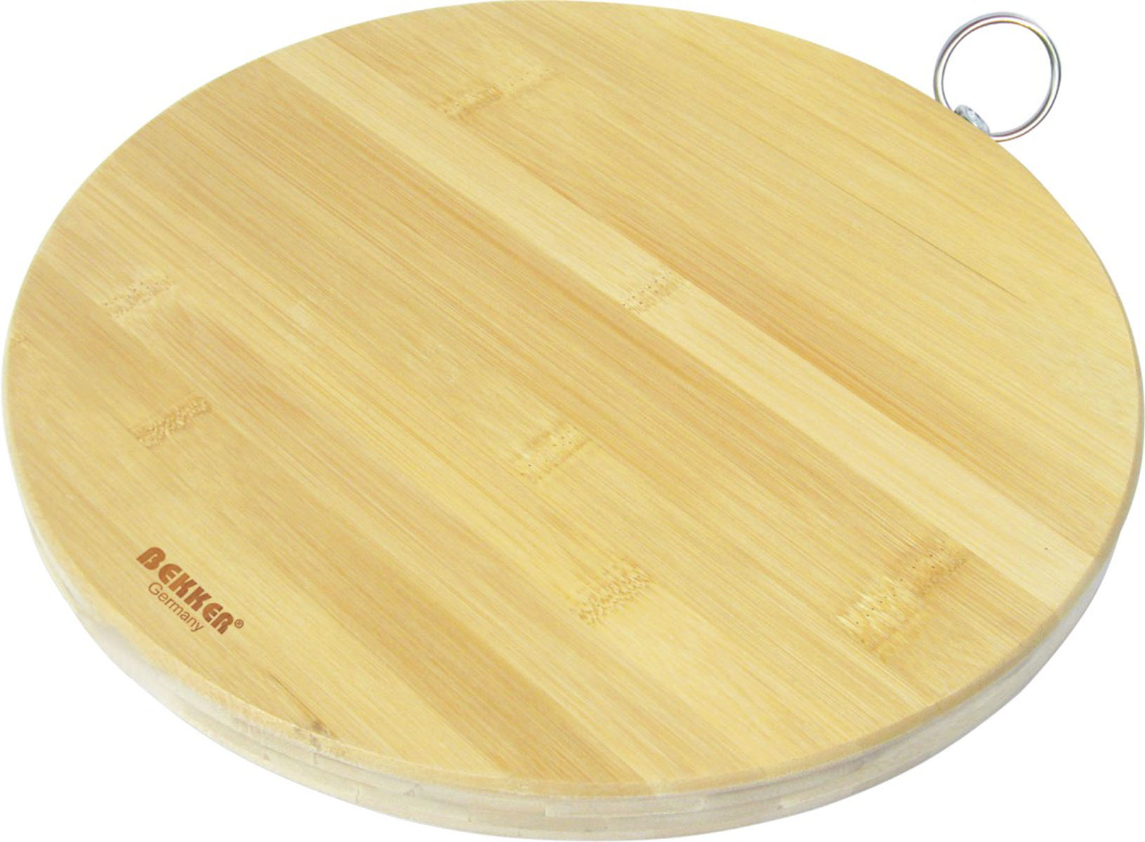 Доска разделочная Bekker, бамбуковая, диаметр 30 см. BK-9703115510Круглая разделочная доска Bekker изготовлена из высококачественной древесины бамбука, обладающей антибактериальными свойствами. Бамбук - инновационный материал, идеально подходящий для разделочных досок. Доски из бамбука обладают высокой плотностью структуры древесины, а также устойчивы к механическим воздействиям. Доска оснащена крючком для подвешивания. Функциональная и простая в использовании, разделочная доска Bekker прекрасно впишется в интерьер любой кухни и прослужит вам долгие годы.