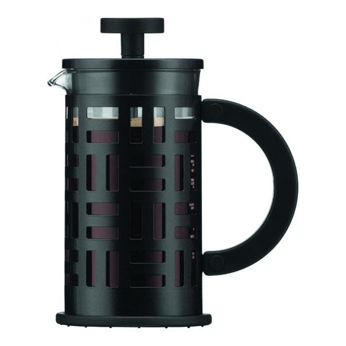 Кофейник Bodum Eileen с прессом, цвет: черный, 350 мл115510Кофейник Bodum Eileen имеет жаропрочный, теплосберегающий узкий стеклянный цилиндр и поршень, нижняя часть которого соединена с сетчатым металлическим фильтром. Кофейник изготовлен на основе технологии «френч-пресс». Кофейник Bodum Eileen имеет удобную ручку, изготовленную из пластика. Коспус кофейника, изготовлен из нержавеющей стали, в оригинальном стиле. Свое название кофейник приобрел, благодаря гениальному дизайнеру Эйлин Грей (Eileen Gray) .Стиль Эйлин, схож со стилем Bodum. Она работала с металлом и создавала простые и лаконичные формы. Кофейник можно наблюдать во многих кафе Парижа. Кофейник с прессом Bodum Eileen добавит вашему домашнему интерьеру французского шарма. Не применять на плите. Мешать кофе пластмассовой ложкой (входит в комплект).Сильно не давить на пресс. Все детали пригодны для мытья в посудомоечной машине. Диаметр чайника: 8 см. Высота: 16,5 см.