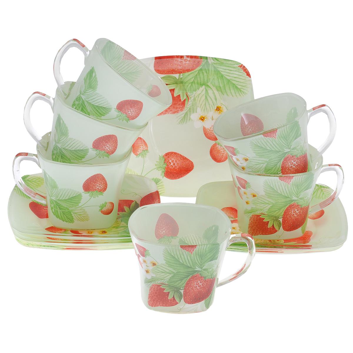 Набор посуды Клубника, 12 предметовVT-1520(SR)Набор посуды состоит из 6 блюдец и 6 чашек. Изделия выполнены из высококачественного стекла и оформлены изображением ягод клубники. Этот набор эффектно украсит стол, а также прекрасно подойдет для торжественных случаев. Красочность оформления придется по вкусу и ценителям классики, и тем, кто предпочитает утонченность и изящность.
