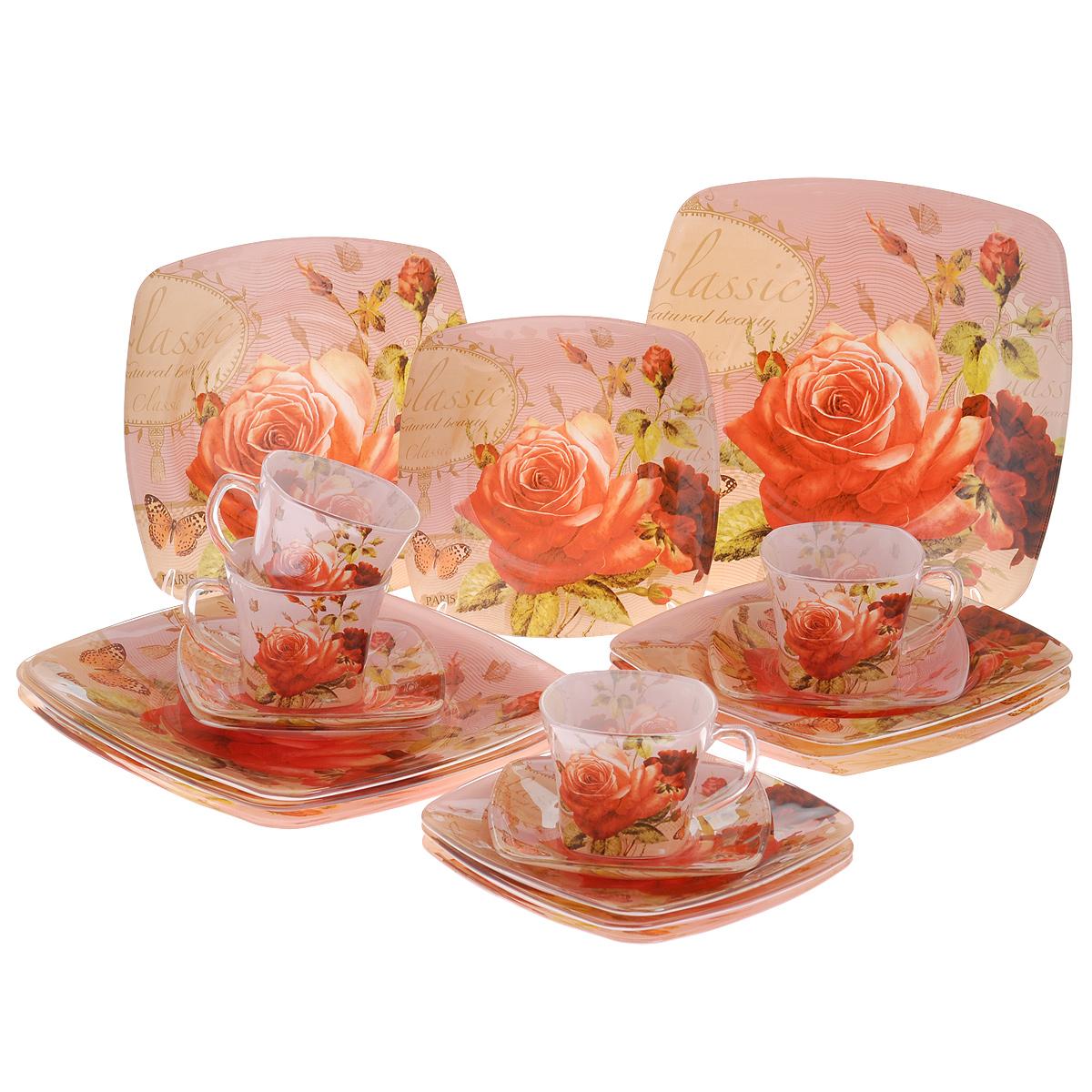 Набор посуды Чайная роза, 20 предметов115510Набор посуды состоит из 4 чашек, 4 блюдец, 4 тарелок для супа, 4 обеденных тарелок, 4 десертных тарелок. Изделия выполнены из высококачественного стекла и оформлены изображением розы. Этот набор эффектно украсит стол к обеду, а также прекрасно подойдет для торжественных случаев. Красочность оформления придется по вкусу и ценителям классики, и тем, кто предпочитает утонченность и изящность.