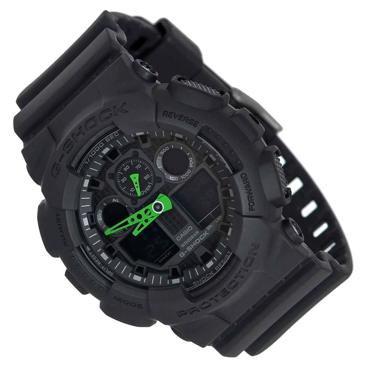 Часы мужские наручные Casio G-Shock, цвет: черный. GA-100C-1A3140_007Стильные часы G-Shock от японского брэнда Casio - это яркий функциональный аксессуар для современных людей, которые стремятся выделиться из толпы и подчеркнуть свою индивидуальность. Часы выполнены в спортивном стиле. Корпус имеет ударопрочную конструкцию, защищающую механизм от ударов и вибрации. Циферблат подсвечивается светодиодной автоматической подсветкой. Функция автоподсветки освещает циферблат при повороте часов к лицу. Ремешок из мягкого пластика имеет классическую застежку.Основные функции: -5 будильников, один с функцией Snooze, ежечасный сигнал; -автоматический календарь (число, месяц, день недели, год); -сплит-хронограф; -измерение скорости и расстояния; -секундомер с точностью показаний 1/1000 с, время измерения 100 часов; -12-ти и 24-х часовой формат времени; -таймер обратного отсчета от 1 мин до 24 ч с автоповтором; -мировое время.Часы упакованы в фирменную коробку с логотипом Casio. Такой аксессуар добавит вашему образу стиля и подчеркнет безупречный вкус своего владельца.Характеристики: Диаметр циферблата: 3,6 см.Размер корпуса: 5,5 см х 5,1 см х 1,7 см.Длина ремешка (с корпусом): 25 см.Ширина ремешка: 2,2 см. STAINLESS STELL BACK JAPAN MOVT EL CASED IN CHINA.