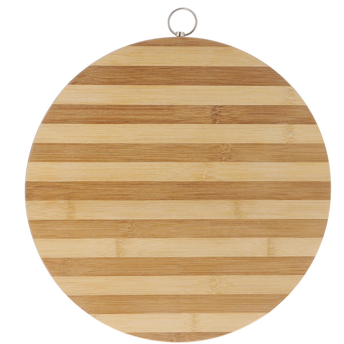 Доска разделочная Bekker, бамбуковая, диаметр 34,5 см391602Круглая разделочная доска Bekker изготовлена из высококачественной древесины бамбука, обладающей антибактериальными свойствами. Бамбук - инновационный материал, идеально подходящий для разделочных досок. Доски из бамбука обладают высокой плотностью структуры древесины, а также устойчивы к механическим воздействиям. Доска оснащена специальной металлической петелькой для подвешивания. Функциональная и простая в использовании, разделочная доска Bekker прекрасно впишется в интерьер любой кухни и прослужит вам долгие годы.