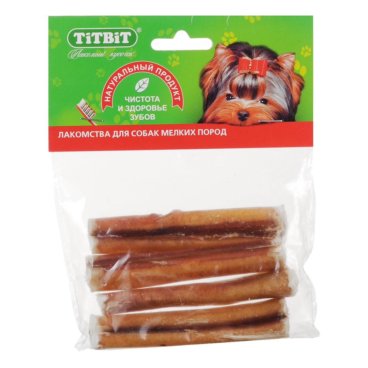Лакомство для собак мелких пород Titbit, корень бычий резанный, 4 шт1846В одной упаковке Titbit содержатся 4 высушенных резаных бычьих корня длиной около 10 см. Большое содержание аминокислот и микроэлементов оказывает положительное воздействие на общий обмен веществ собаки. Особенно любимое лакомство у собак всех пород и возрастов. Неповторимый вкус этого лакомства надолго отвлечет вашего питомца от любых дел. Рекомендации к применению: для удаления зубного налета, профилактики зубного камня. Способствуют укреплению десен и жевательных мышц. Развивают зубочелюстной аппарат, отвлекают собаку во время смены зубов. Для собак всех пород с 1,5 - 2 месяцев. Состав: высушенный бычий пенис. Количество в упаковке: 4 шт. Средняя длина лакомства: 10 см. Товар сертифицирован.