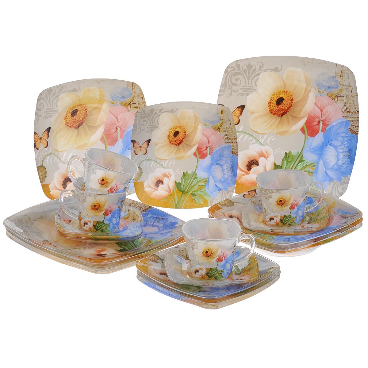 Набор посуды Цветы, 20 предметов115510Набор посуды состоит из 4 чашек, 4 блюдец, 4 тарелок для супа, 4 обеденных тарелок, 4 десертных тарелок. Изделия выполнены из высококачественного стекла и оформлены изображением цветов. Этот набор эффектно украсит стол к обеду, а также прекрасно подойдет для торжественных случаев. Красочность оформления придется по вкусу и ценителям классики, и тем, кто предпочитает утонченность и изящность.Набор можно мыть в посудомоечной машине.