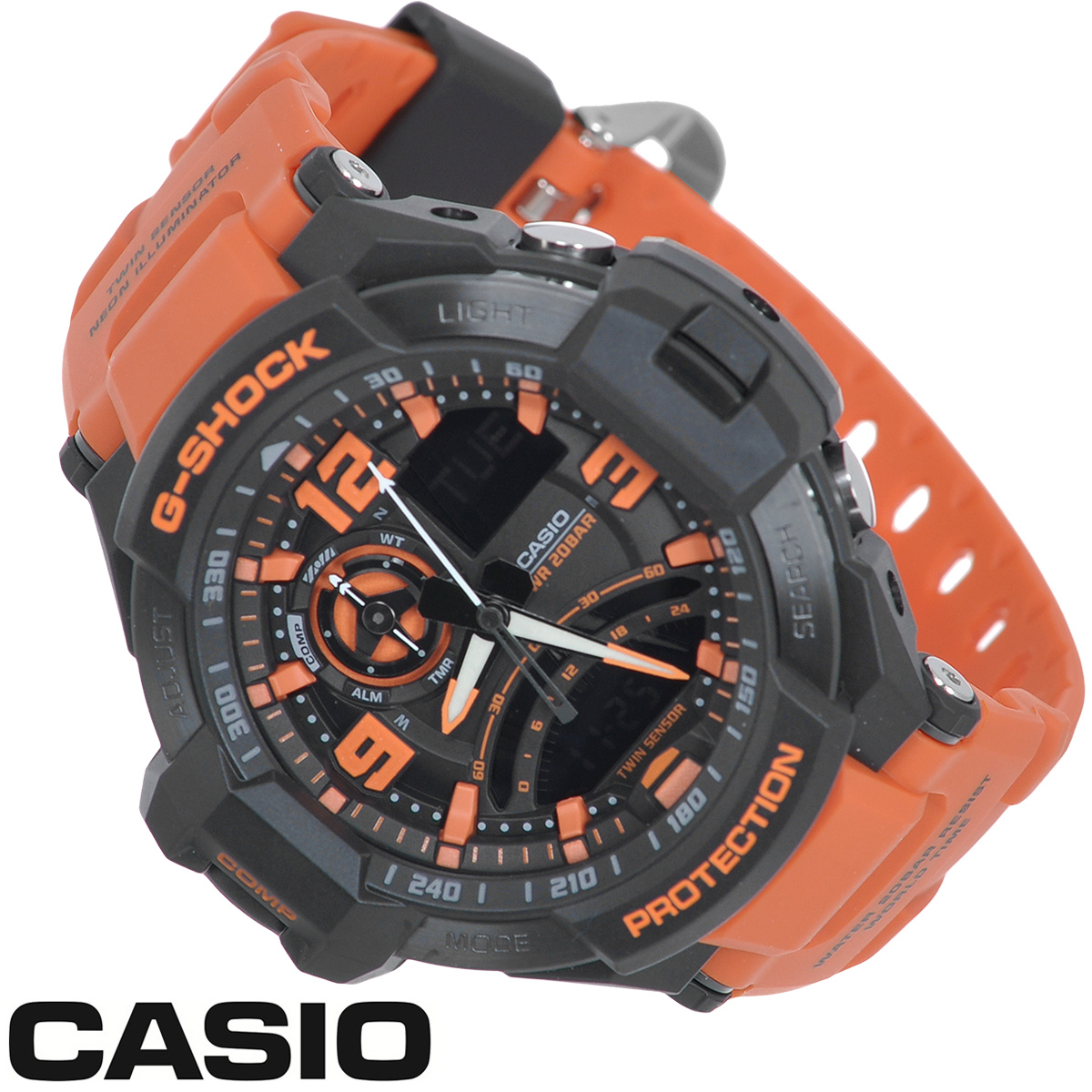 Часы мужские наручные Casio G-Shock, цвет: черный, оранжевый. GA-1000-4AM0212 10 N1WСтильные часы G-Shock от японского брэнда Casio - это яркий функциональный аксессуар для современных людей, которые стремятся выделиться из толпы и подчеркнуть свою индивидуальность. Часы выполнены в спортивном стиле. Корпус имеет ударопрочную конструкцию, защищающую механизм от ударов и вибрации. Циферблат со стальным безелем подсвечивается светодиодной автоподсветкой с флюорисцентным напылением на стрелках и дисплее. При повороте часов в сторону лица подсветка дисплея осуществляется автоматически. Светонакопительное покрытие Neobrite продолжает светиться в темноте даже после непродолжительного пребывания на свету. Ремешок из мягкого пластика имеет классическую застежку.Основные функции: -5 будильников, один с функцией повтора сигнала (чтобы отложить пробуждение), ежечасный сигнал; -автоматический календарь (число, месяц, день недели, год); -встроенный цифровой компас; -термометр от -10° до +60°С с точностью 0,1°C; -секундомер с точностью показаний 1/1000 с, время измерения 24 часа; -12-ти и 24-х часовой формат времени; -таймер обратного отсчета от 1 мин до 1 ч; -мировое время; -функция включения/отключения звука.Часы упакованы в фирменную коробку с логотипом Casio. Такой аксессуар добавит вашему образу стиля и подчеркнет безупречный вкус своего владельца.Характеристики: Диаметр циферблата: 3,4 см.Размер корпуса: 5,1 см х 5,2 см х 1,6 см.Длина ремешка (с корпусом): 24,5 см.Ширина ремешка: 2 см. STAINLESS STELL BACK JAPAN MOVT Y CASED IN THAILAND.