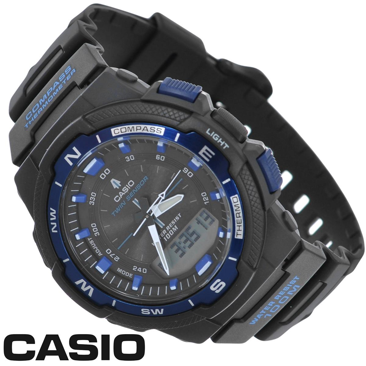 Часы мужские наручные Casio, цвет: черный, синий. SGW-500H-2BPGW60-XYX109 BlackСтильные многофункциональные часы от японского брэнда Casio - это яркий функциональный аксессуар для современных людей, которые стремятся выделиться из толпы и подчеркнуть свою индивидуальность. Часы выполнены в спортивном стиле.Электронные часы оснащены японским кварцевым механизмом. Корпус часов изготовлен из пластика и имеет алюминиевый безель. Циферблат оснащен тремя стрелками и подсвечивается светодиодом. Ремешок из пластика имеет классическую застежку.Основные функции: -5 будильников, ежечасный сигнал; -встроенный датчик температур от -10° до +60°С с точностью 0,1°C; -автоматический календарь (число, месяц, день недели, год); -встроенный цифровой компас; -секундомер с точностью показаний 1/100 с, время измерения 24 ч; -12-ти и 24-х часовой формат времени; -таймер обратного отсчета от 1 мин до 100 мин; -функция включения/отключения звука; -мировое время; -отображение возраста и фазы Луны, времени восхода и захода солнца. Часы упакованы в фирменную коробку с логотипом Casio. Такой аксессуар добавит вашему образу стиля и подчеркнет безупречный вкус своего владельца.Характеристики: Диаметр циферблата: 3,3 см.Размер корпуса: 5 см х 4,7 см х 1,5 см.Длина ремешка (с корпусом): 25,5 см.Ширина ремешка: 2 см. STAINLESS STELL BACK JAPAN MOVT EA CASED IN CHINA.