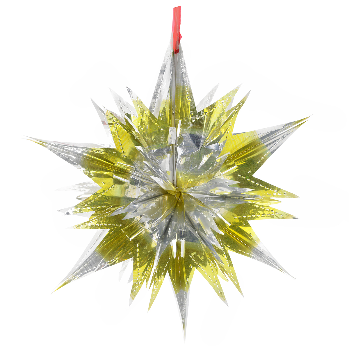 Новогоднее подвесное украшение Звезда, цвет: серебристый, желтый. 2700927009Новогоднее украшение Звезда отлично подойдет для декорации вашего дома и новогодней ели. Украшение выполнено из ПВХ в форме многогранной многоцветной звезды. С помощью специальной петельки звезду можно повесить в любом понравившемся вам месте. Украшение легко складывается и раскладывается благодаря металлическим кольцам. Новогодние украшения несут в себе волшебство и красоту праздника. Они помогут вам украсить дом к предстоящим праздникам и оживить интерьер по вашему вкусу. Создайте в доме атмосферу тепла, веселья и радости, украшая его всей семьей. Коллекция декоративных украшений из серии Magic Time принесет в ваш дом ни с чем не сравнимое ощущение волшебства!Размер украшения (в сложенном виде): 25 см х 21,5 см.