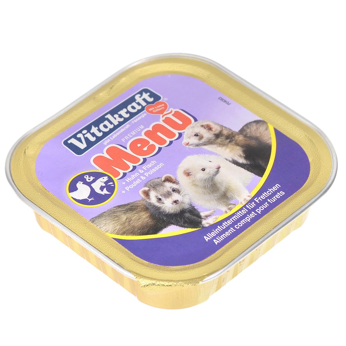 Консервы для хорьков Vitakraft Delikatess Menu, 100 г492020-492320Корм Vitakraft Delikatess Menu для хорьков для ежедневного применения. В консервах содержится комплекс жирных кислот, витаминов и минералов, заботящихся о хорошем внешнем виде шерсти и кожи животного.Благодаря оптимальному содержанию витаминов, минералов и питательных веществ рацион обеспечивает организм хорька всеми ресурсами, нужными для его нормальной жизнедеятельности и хорошего здоровья.Состав: мясо и мясные субпродукты, рыба и рыбные субпродукты, минералы. Пищевая ценность: 10% протеин, 5% жир, 0,2% клетчатка, 2% зола, 0,4% кальций, 0,3% фосфор, 82% влажность. Витамины: 30 мг витамин Е. Применение: давать 1 банку в день. Вес: 100 г. Уважаемые клиенты! Обращаем ваше внимание на возможные изменения в дизайне упаковки. Поставка осуществляется в зависимости от наличия на складе.