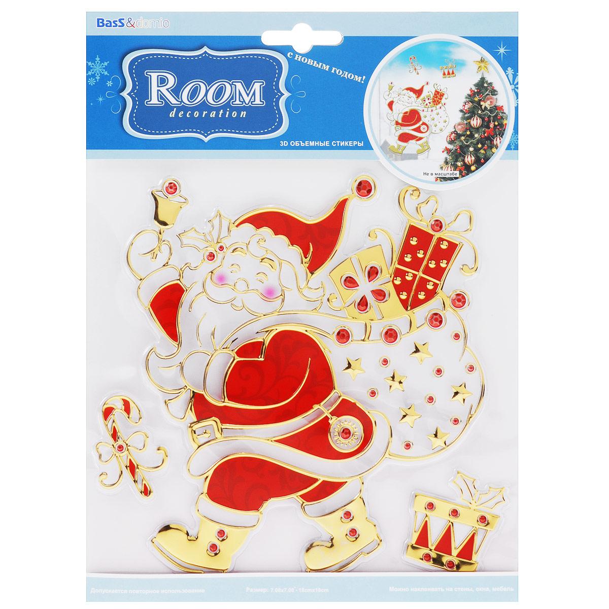 Новогоднее оконное украшение Room Decoration Дед Мороз, 18 см х