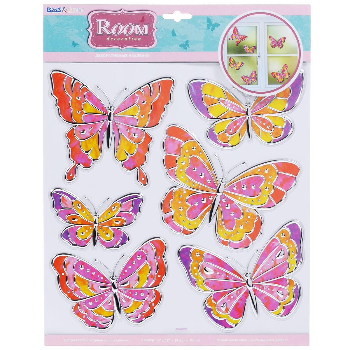 Наклейки для интерьера Room Decoration Витражные бабочки, 30,5 см х 30,5 смTHN132NНаклейки для стен и предметов интерьера Room Decoration Витражные бабочки, изготовленные из экологически безопасной самоклеящейся виниловой пленки - это удивительно простой и быстрый способ оживить интерьер помещения. На одном листе расположены 6 наклеек в виде цветов и разноцветных бабочек с серебристыми вставками.Интерьерные наклейки дадут вам вдохновение, которое изменит вашу жизнь и поможет погрузиться в мир ярких красок, фантазий и творчества. Для вас открываются безграничные возможности придумать оригинальный дизайн и придать новый вид стенам и мебели. Наклейки абсолютно безопасны для здоровья. Они быстро и легко наклеиваются на любые ровные поверхности: стены, окна, двери, кафельную плитку, виниловые и флизелиновые обои, стекла, мебель. При необходимости удобно снимаются, не оставляют следов и не повреждают поверхность (кроме бумажных обоев). Наклейки Room Decoration Витражные бабочки помогут вам изменить интерьер вокруг себя: в детской комнате и гостиной, на кухне и в прихожей, витрину кафе и магазина, детский садик и офис.