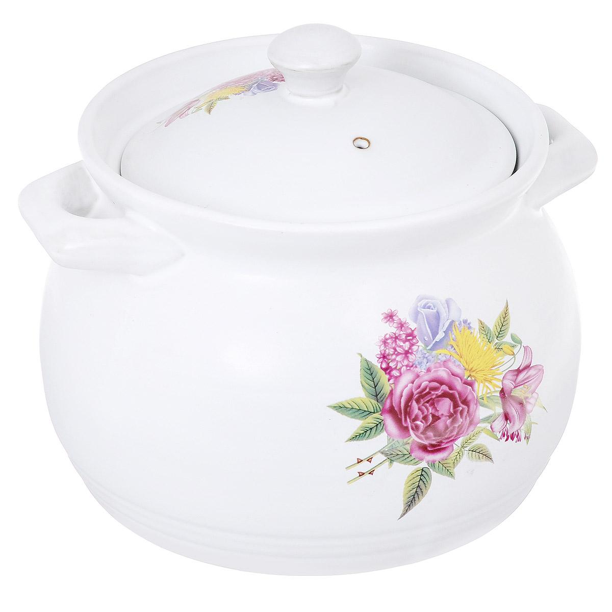 Кастрюля Bekker Розы с крышкой, цвет: белый, 3,8 л94672Кастрюля Bekker изготовлена из жаропрочной керамики и декорирована изображением фруктов. При приготовлении в керамической посуде сохраняются питательные вещества и витамины. Керамика - прочный материал, который эффективно и быстро нагревается и удерживает тепло, медленно и равномерно его распределяя. Кроме того, керамика термостойка: она выдерживает температуру от - 30°С до 230°С. Кастрюля оснащена удобными ручками. Крышка изготовлена из керамики и оснащена отверстием для выхода пара. Она плотно прилегает к краю кастрюли, сохраняя аромат блюд. Можно использовать на газовой, электрической, керамической плитах и в духовом шкафу. Рекомендована ручная чистка.Высота стенки кастрюли: 16,2 см.Толщина стенки кастрюли: 5 мм.Толщина дна кастрюли: 4 мм.Ширина кастрюли с учетом ручек: 23 см.Диаметр дна кастрюли: 18,5 см.