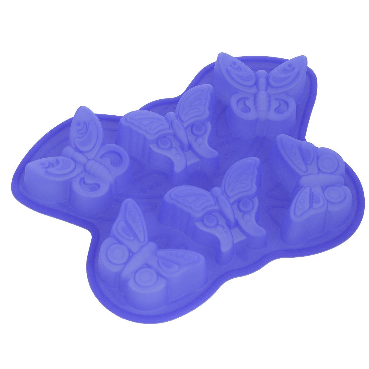 Форма для выпечки Bekker Бабочки, силиконовая, цвет: синий, 6 ячеек94672Форма для выпечки Bekker Бабочки изготовлена из силикона. Силиконовые формы для выпечки имеют много преимуществ по сравнению с традиционными металлическими формами и противнями. Они идеально подходят для использования в микроволновых, газовых и электрических печах при температурах до +250°С. В случае заморозки до -50°С. Можно мыть в посудомоечной машине. За счет высокой теплопроводности силикона изделия выпекаются заметно быстрее. Благодаря гибкости и антиприлипающим свойствам силикона, готовое изделие легко извлекается из формы. Для этого достаточно отогнуть края и вывернуть форму (выпечке дайте немного остыть, а замороженный продукт лучше вынимать сразу). Силикон абсолютно безвреден для здоровья, не впитывает запахи, не оставляет пятен, легко моется. Форма для выпечки Bekker Бабочки - практичный и необходимый подарок любой хозяйке!