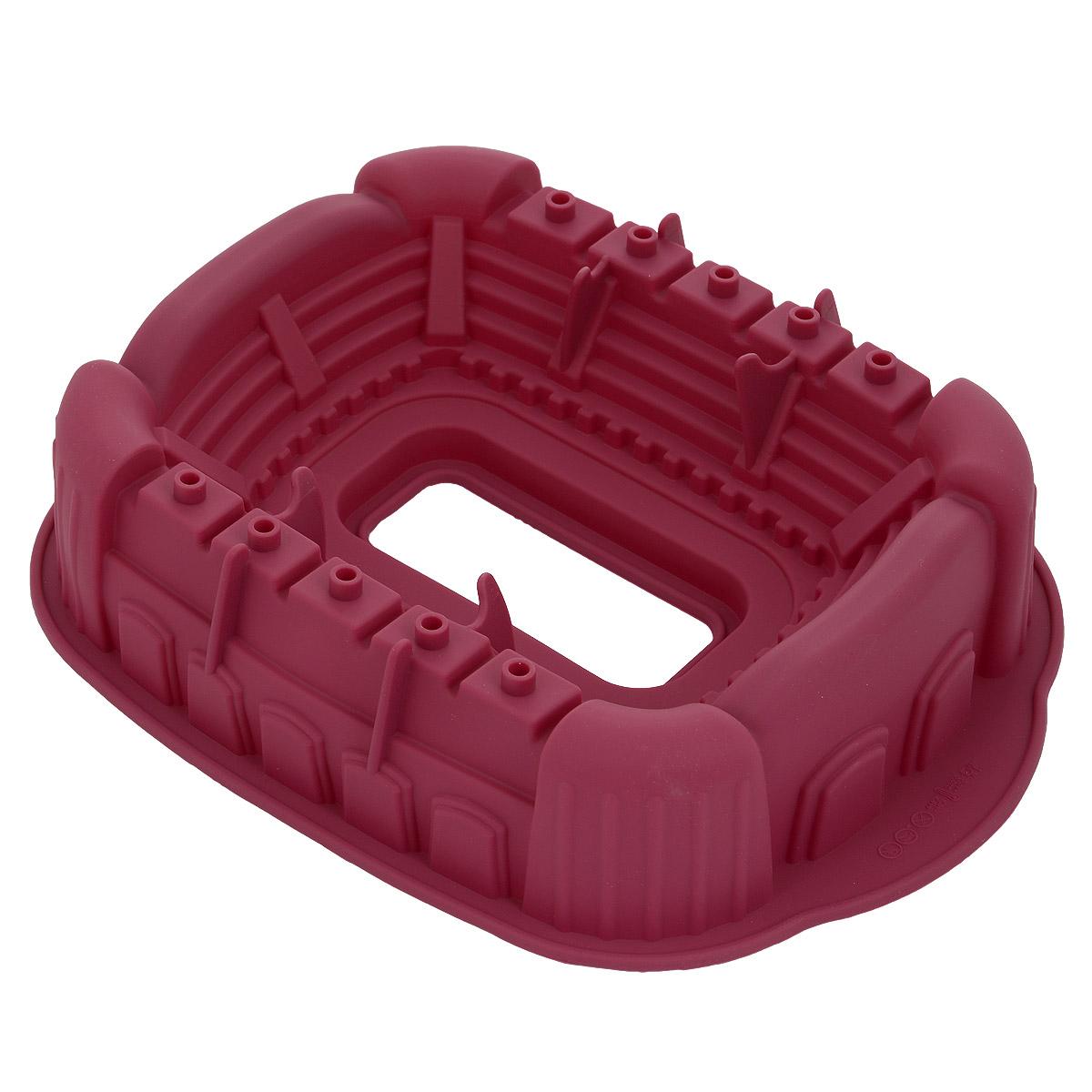 Форма для выпечки Bekker Стадион, силиконовая, цвет: бордовыйFS-80299Форма для выпечки Bekker Стадион изготовлена из силикона. Силиконовые формы для выпечки имеют много преимуществ по сравнению с традиционными металлическими формами и противнями. Они идеально подходят для использования в микроволновых, газовых и электрических печах при температурах до +250°С. В случае заморозки до -50°С. Можно мыть в посудомоечной машине. За счет высокой теплопроводности силикона изделия выпекаются заметно быстрее. Благодаря гибкости и антиприлипающим свойствам силикона, готовое изделие легко извлекается из формы. Для этого достаточно отогнуть края и вывернуть форму (выпечке дайте немного остыть, а замороженный продукт лучше вынимать сразу). Силикон абсолютно безвреден для здоровья, не впитывает запахи, не оставляет пятен, легко моется. Форма для выпечки Bekker Стадион - практичный и необходимый подарок любой хозяйке!