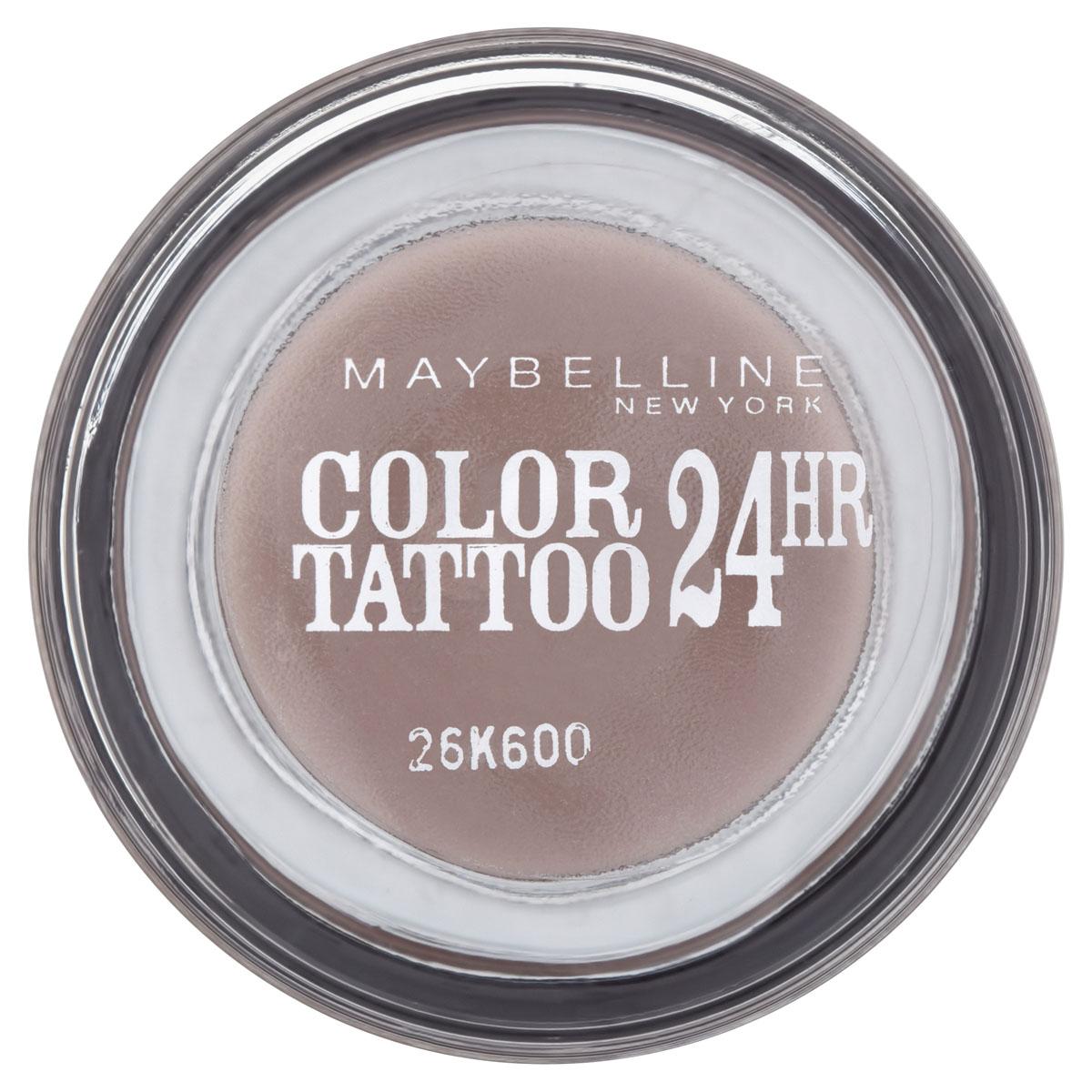 Maybelline New York Тени для век Color Tattoo 24 часа, оттенок 40, Долговечный коричневый, 4 мл4630003365187Осмелься на ультраяркий, самый стойкий цвет!Супернасыщенные крем-гелевые тени с технологией тату-пигментов.Насыщенные, устойчивые тениMaybelline Color Tattoo 24 часа предназначены для дневного и вечернего макияжа. Тени словно татуировка надежно закрепляются на коже, не боятся влаги, не скатываются и не размазываются, даже если потереть глаза рукой.Товар сертифицирован.