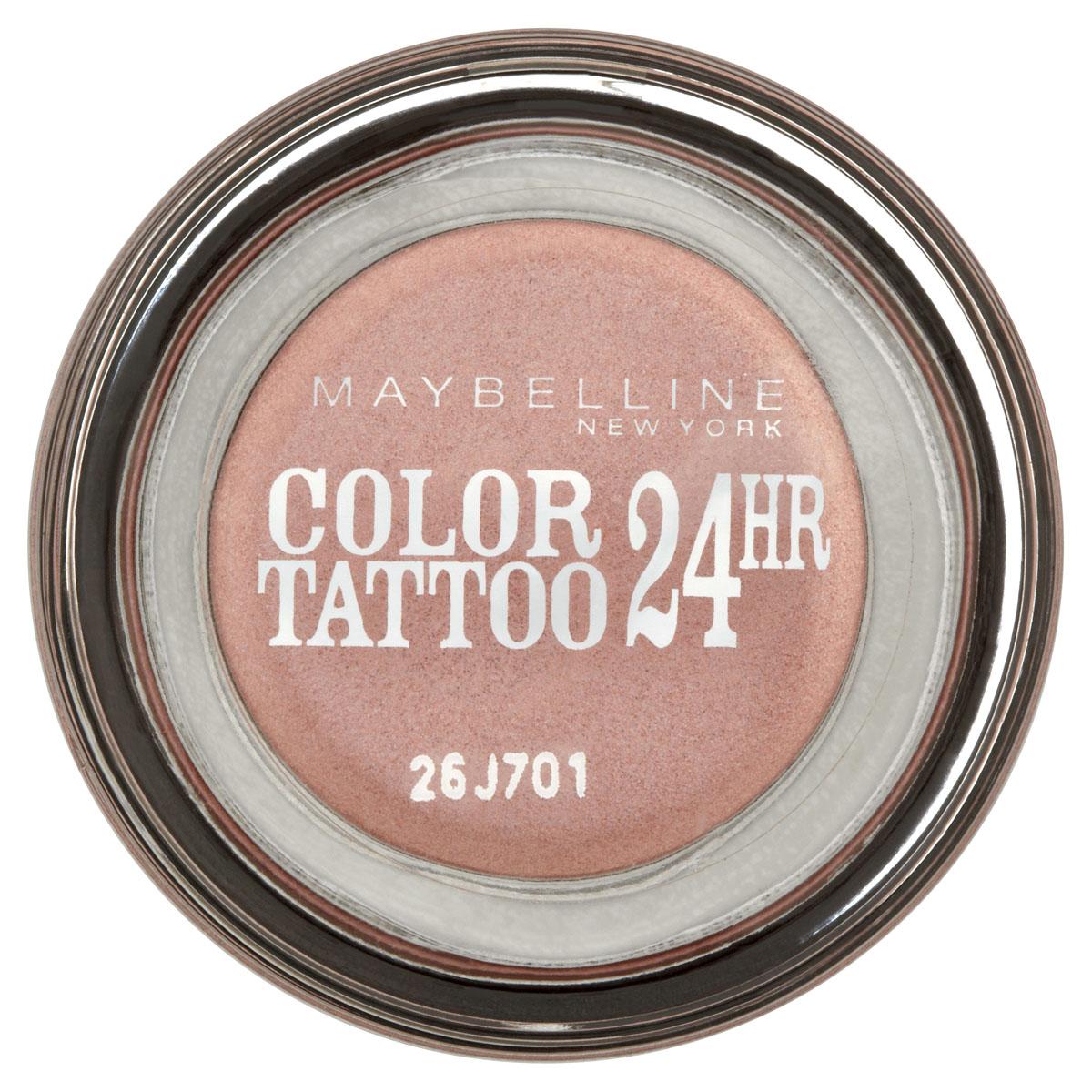 Maybelline New York Тени для век Color Tattoo 24 часа, оттенок 65, Розовое золото, 3,5 мл6Технология тату-пигментов создает яркий, супернасыщенный цвет. Крем-гелевая текстура обеспечивает ультралегкое нанесение и стойкость на 24 часа.12 оттенков