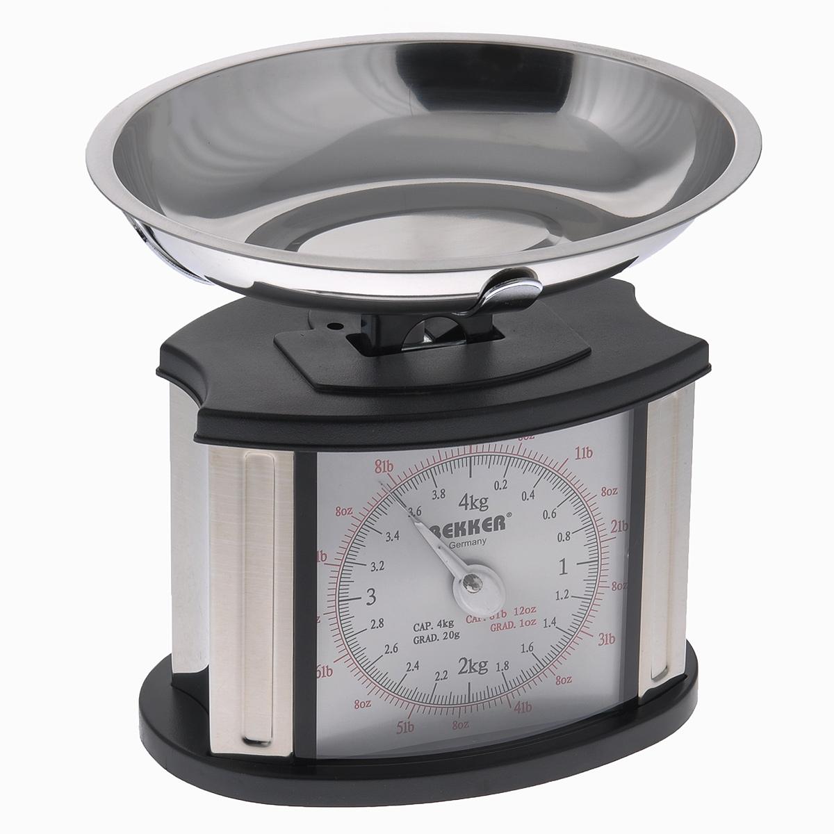 Весы кухонные механические Bekker Koch, до 4 кгFA-6408 SilverМеханические кухонные весы Bekker Koch, выполненные из высокопрочного пластика и металла, с большой, хорошо читаемой шкалой и съемной чашей, придутся по душе каждой хозяйке и станут незаменимым аксессуаром на кухне. На шкале присутствуют несколько единиц измерения. Красная шкала обозначает унции и фунты, а черная - килограммы и граммы. В комплекте - чаша из нержавеющей стали.Вам больше не придется использовать продукты на глаз. Весы Bekker Koch позволят вам с высокой точностью дозировать продукты, следуя вашим любимым рецептам.Размер весов (без чаши): 18 см х 13 см х 18,5 см. Объем чаши: 1 л.Размер чаши: 23,5 см х 18,5 см х 4 см.