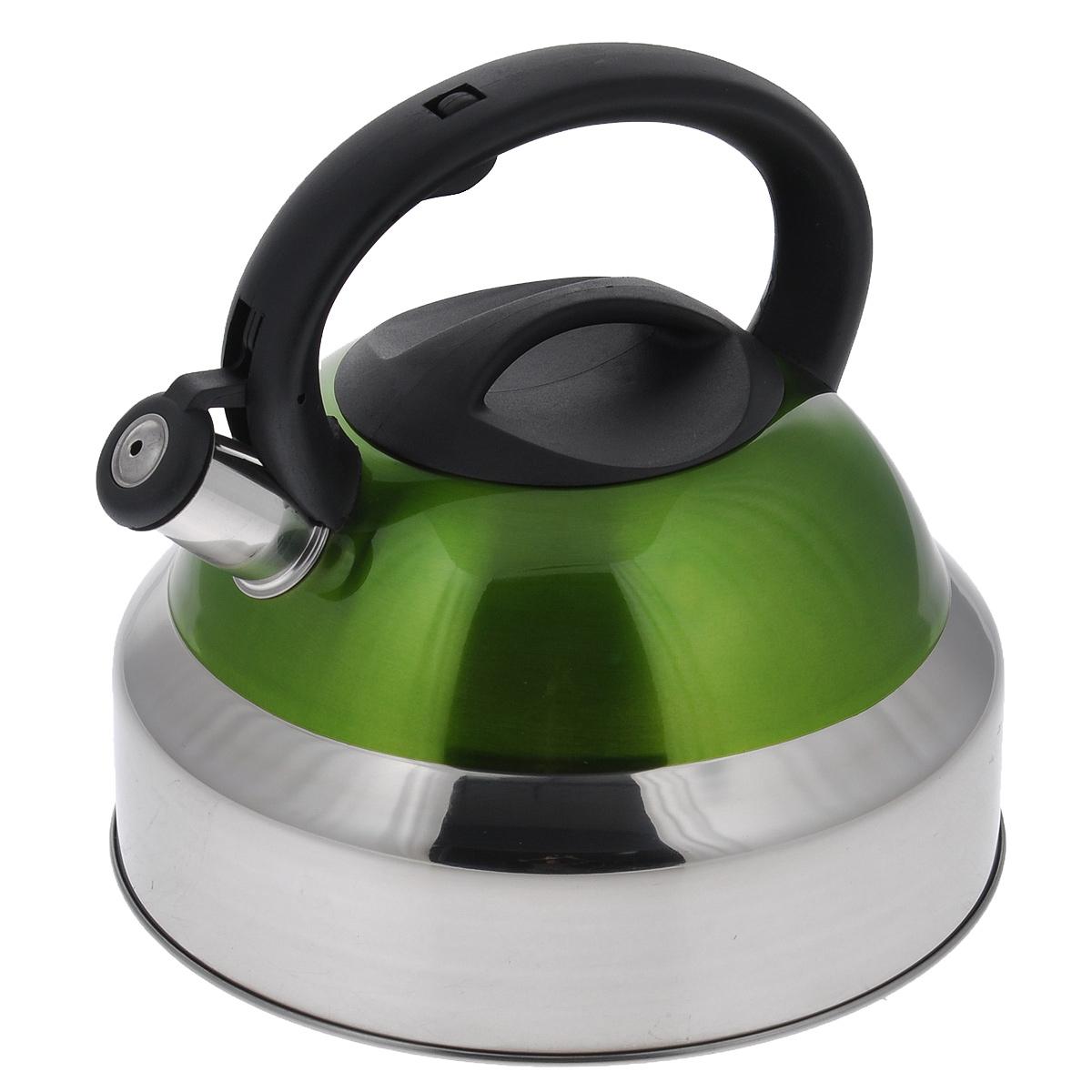 Чайник Bekker De Luxe со свистком, цвет: зеленый, 5 л. BK-S578115510Чайник Bekker De Luxe выполнен из высококачественной нержавеющей стали, что обеспечивает долговечность использования. Внешнее цветное эмалевое покрытие придает приятный внешний вид. Нейлоновая фиксированная ручка делает использование чайника очень удобным и безопасным. Чайник снабжен свистком и устройством для открывания носика, которое находится на ручке. Изделие оснащено капсулированным дном для лучшего распространения тепла.Не рекомендуется мыть в посудомоечной машине. Пригоден для всех видов плит, включая индукционные.