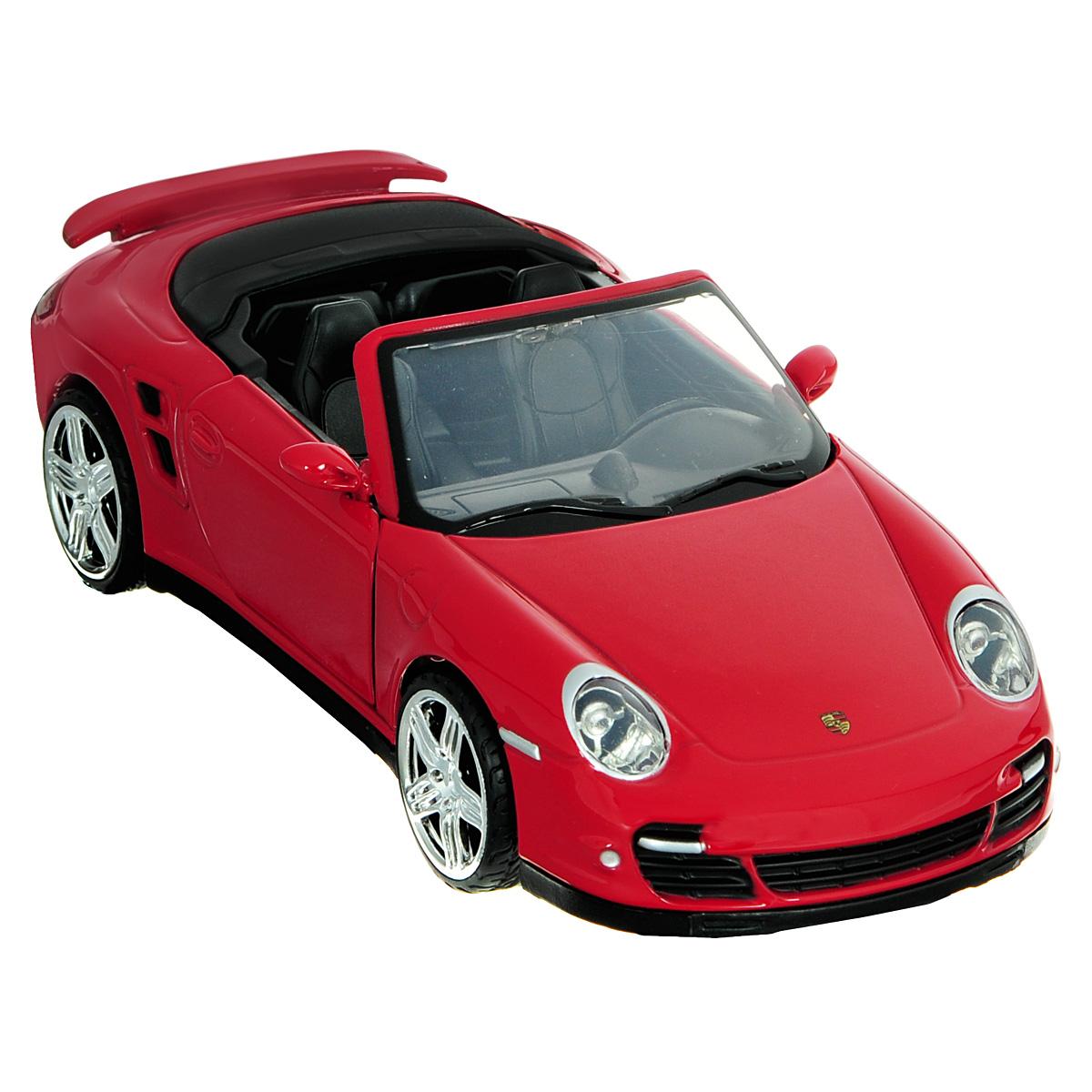 Коллекционная модель MotorMax Porsche 911 Turbo Cabriolet, цвет: красный. Масштаб 1/24 motormax трансформирующийся в аэропорт