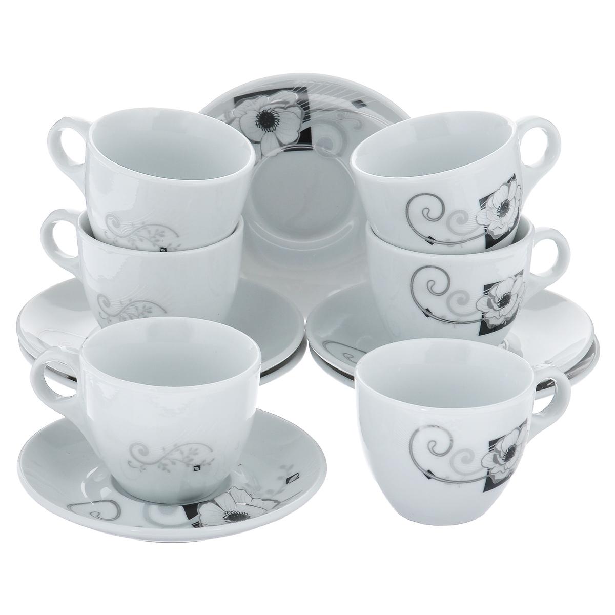 Набор кофейный Bekker, 12 предметов. BK-6815VT-1520(SR)Набор кофейный Bekker состоит из 6 чашек и 6 блюдец. Чашки и блюдца изготовлены из высококачественного фарфора с изображением цветов. Такой дизайн, несомненно, придется по вкусу и ценителям классики, и тем, кто предпочитает утонченность и изящность. Набор кофейный на подставке Bekkerукрасит ваш кухонный стол, а также станет замечательным подарком к любому празднику. Набор упакован в подарочную коробку из плотного цветного картона. Внутренняя часть коробки задрапирована белой атласной тканью, и каждый предмет надежно крепится в определенном положении благодаря особым выемкам в коробке. Можно мыть в посудомоечной машине.