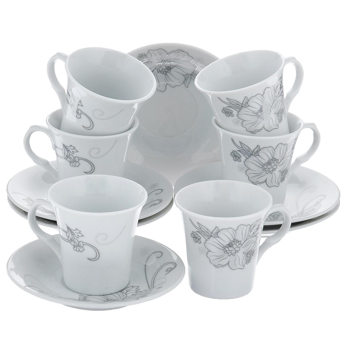 Набор кофейный Bekker, 12 предметов. BK-6814VT-1520(SR)Набор кофейный Bekker состоит из 6 чашек и 6 блюдец. Чашки и блюдца изготовлены из высококачественного фарфора с изображением цветов. Такой дизайн, несомненно, придется по вкусу и ценителям классики, и тем, кто предпочитает утонченность и изящность. Набор кофейный на подставке Bekkerукрасит ваш кухонный стол, а также станет замечательным подарком к любому празднику. Набор упакован в подарочную коробку из плотного цветного картона. Внутренняя часть коробки задрапирована белой атласной тканью, и каждый предмет надежно крепится в определенном положении благодаря особым выемкам в коробке. Можно мыть в посудомоечной машине.