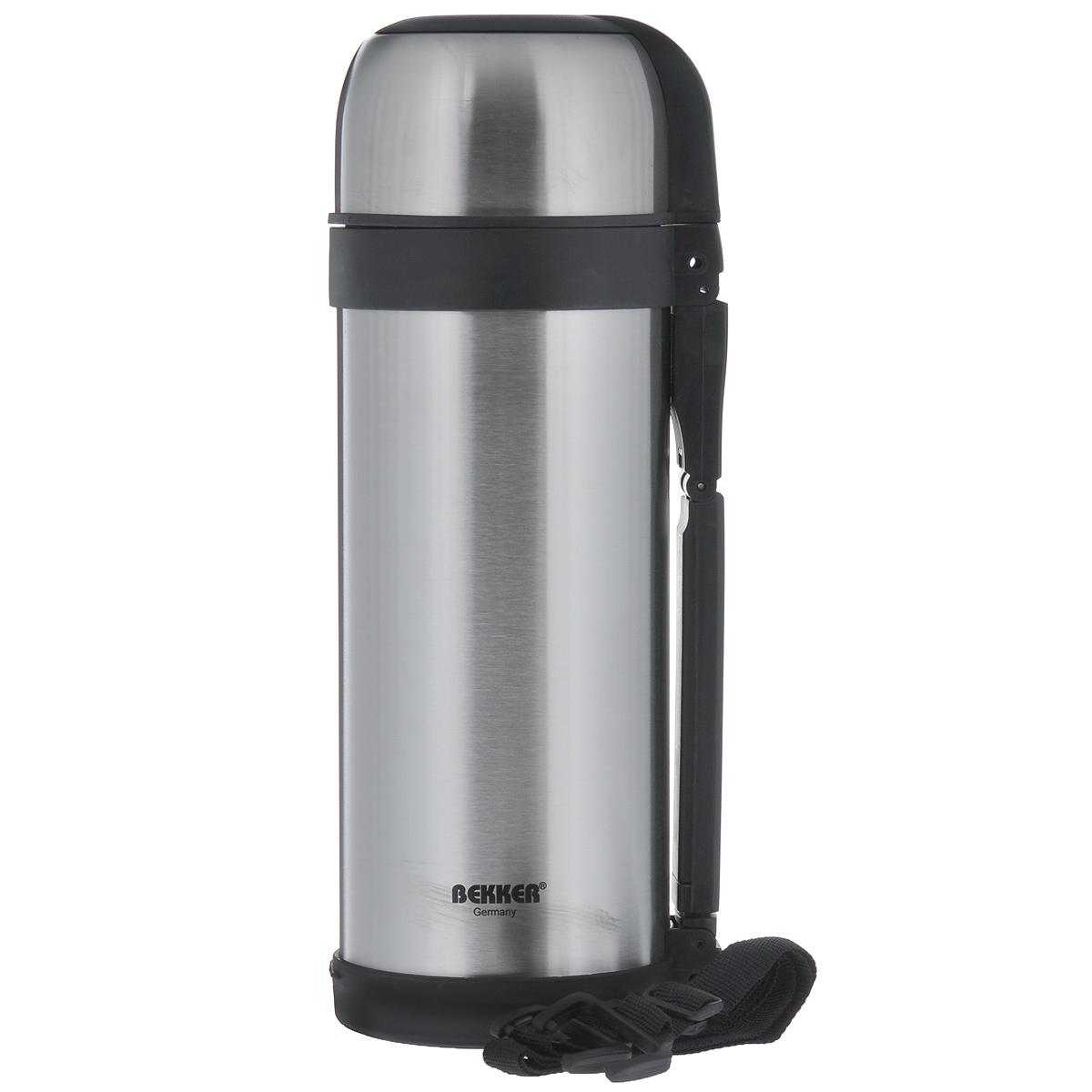 Термос Bekker, с широким горлом, 1,8 л. BK-79VT-1520(SR)Термос Bekker изготовлен из высококачественной нержавеющей стали 18/8. Он имеет небьющуюся внутреннюю колбу с двойной стенкой и изолированную крышку. Изделие оснащено вакуумной кнопкой для жидкости, а также удобной ручкой. Термос сохраняет напитки и пищу горячими и холодными долгое время. В комплекте ремень для переноски, что делает использование термоса легким и удобным.Легкий и прочный термос Bekker идеально подойдет для транспортировки и путешествий.