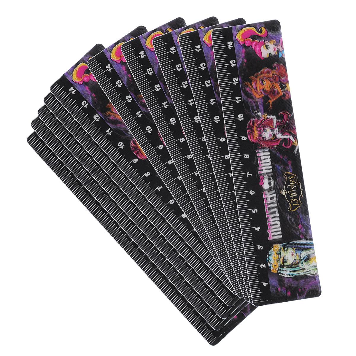 Закладка Monster High выполнена из пластика и оформлена изображениями персонажей популярного мультсериала Monster High (Школа Монстров). 3D-эффект создает впечатление, будто персонажи двигаются.На обратной стороне имеется линейка 15 см.Закладки позволяют не только выделять место остановки чтения, но и дают возможность отмечать несколько нужных страниц в книге, журнале или органайзере.  В наборе 10 закладок, упакованных в отдельные пакеты.