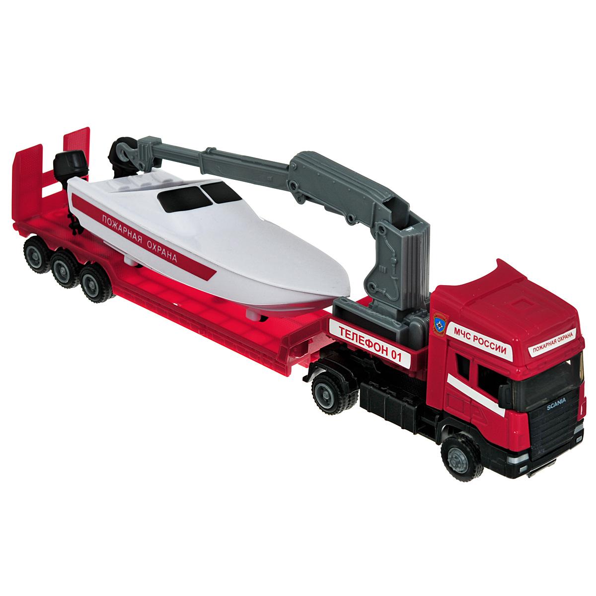 Autotime Игрушка Машинка Scania: Пожарная, c катером. Масштаб 1/48 модель машины chun base 1 43 scania
