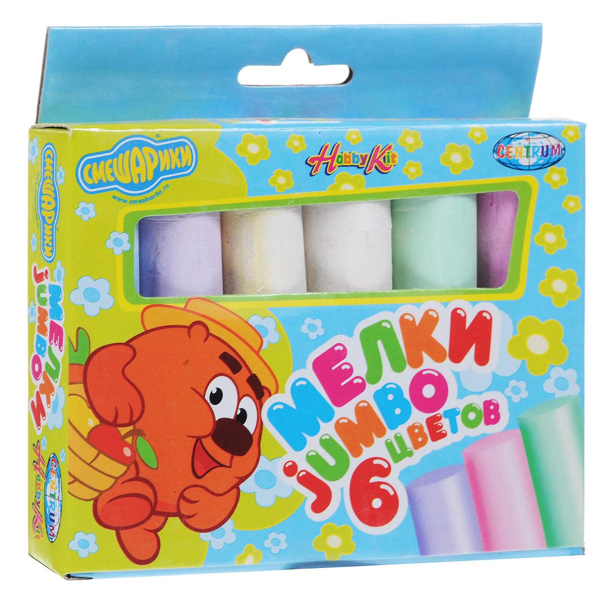Мелки цветные Смешарики Jumbo, 6 цветов83979Цветные мелки Смешарики Jumbo с круглым корпусом помогут юным художникам преобразить мир вокруг. Их утолщенная форма создана специально для маленьких детских ручек, поэтому малышам очень удобно ими пользоваться. Мелки пригодятся для игры в классики, помогут создать огромные картины на асфальте и прекрасные рисунки на доске дома, в школе или в детском саду.В комплекте два мелка белого цвета и четыре мелка зеленого, фиолетового, голубого и розового цветов. С их помощью малыш сможет создать яркие, радостные и неповторимые картины.