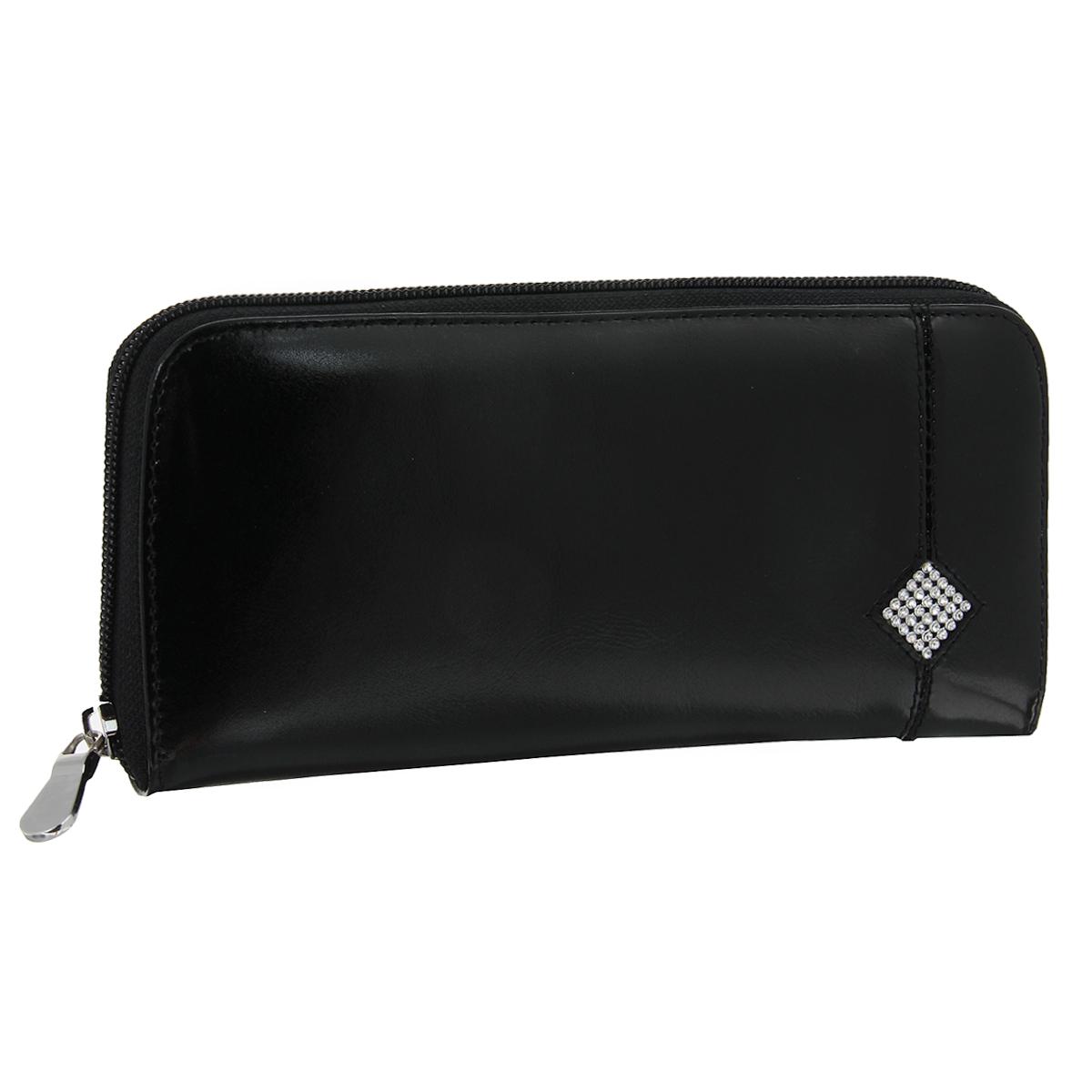 Портмоне женское Dimanche Daimond, цвет: черный. 175INT-06501Стильное женское портмоне Dimanche Daimond изготовлено из натуральной лакированной кожи. Закрывается на застежку-молнию.Внутри содержится 4 вместительных отделения для купюр, карман на молнии для мелочи, 6 кармашков для пластиковых карт и 2 потайных кармашка для бумаг, один из которых закрывается на молнию. Внутренняя отделка выполнена из атласного полиэстера с узором. Оформлено изделие аппликацией из стразов в виде ромба. Фурнитура - серебристого цвета. Стильное портмоне отлично дополнит ваш образ и станет незаменимым аксессуаром на каждый день. Упаковано в фирменную картонную коробку.