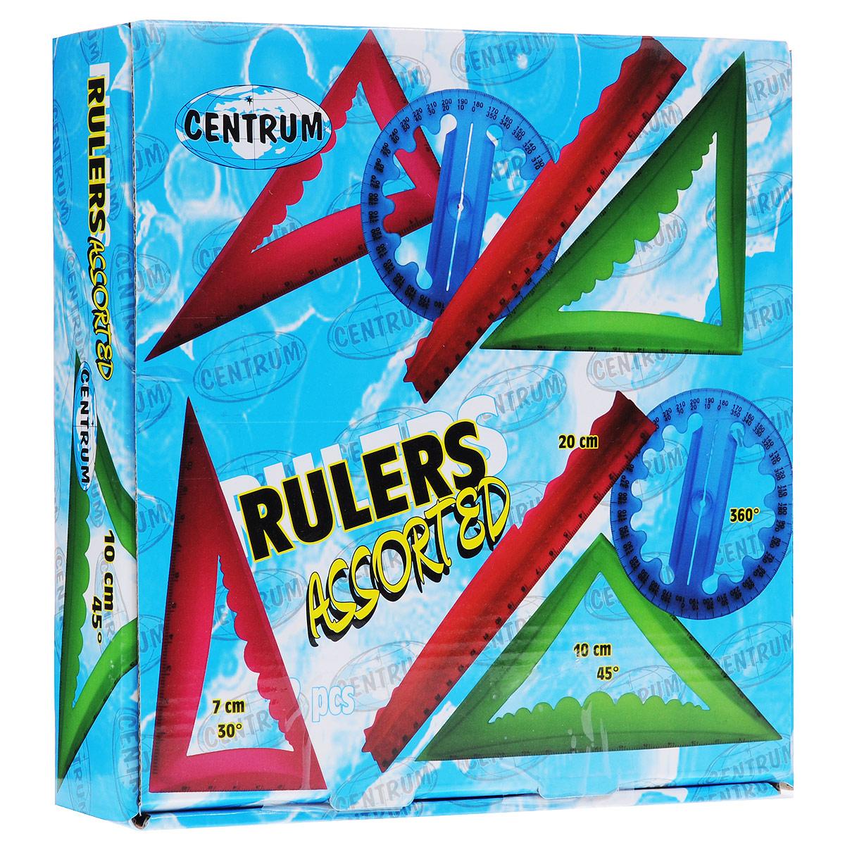 Набор объемных линеек Centrum, 48 шт31526Набор Centrum включает 48 объемных линеек: 12 линеек 20 см, 12 треугольников 30°, 12 треугольников 45° и 12 транспортиров 360°. Линейки представлены четырех цветов: оранжевого, розового, синего и зеленого (по три линейки каждого цвета и каждого вида).