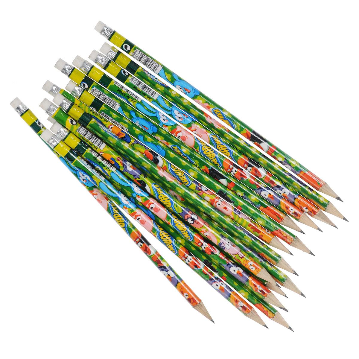 Набор чернографитных карандашей Смешарики, 72 шт72523WDЧернографитные карандаши из набора Смешарики - идеальный инструмент для письма, рисования и черчения. Круглый корпус выполнен из дерева и оформлен изображениями персонажей популярного мультсериала Смешарики. В набор входят 72 заточенных карандаша с ластиками на конце.
