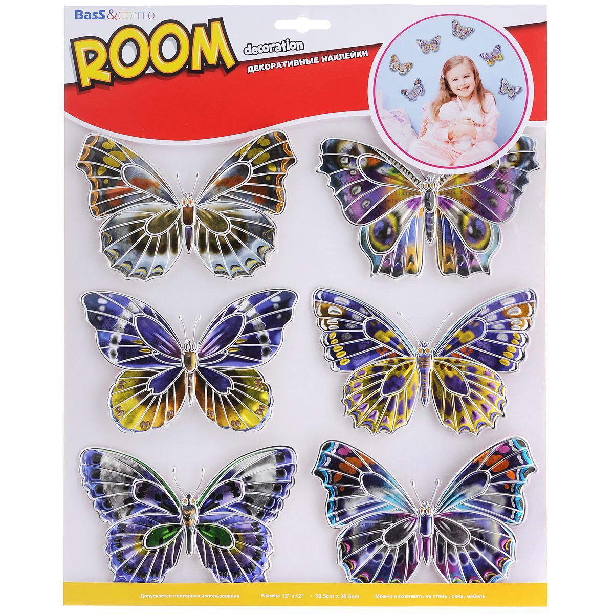 Наклейки для интерьера Room Decoration Бабочки, объемные, 30,5 х 30,5 см HPA4402AI 1007Наклейки для стен и предметов интерьера Room Decoration Бабочки, изготовленные из экологически безопасной самоклеящейся виниловой пленки - это удивительно простой и быстрый способ оживить интерьер помещения. На одном листе расположены 6 объемных наклеек в виде бабочек с серебристыми вставками.Интерьерные наклейки дадут вам вдохновение, которое изменит вашу жизнь и поможет погрузиться в мир ярких красок, фантазий и творчества. Для вас открываются безграничные возможности придумать оригинальный дизайн и придать новый вид стенам и мебели. Наклейки абсолютно безопасны для здоровья. Они быстро и легко наклеиваются на любые ровные поверхности: стены, окна, двери, кафельную плитку, виниловые и флизелиновые обои, стекла, мебель. При необходимости удобно снимаются, не оставляют следов и не повреждают поверхность (кроме бумажных обоев). Наклейки Room Decoration Бабочки помогут вам изменить интерьер вокруг себя: в детской комнате и гостиной, на кухне и в прихожей, витрину кафе и магазина, детский садик и офис.