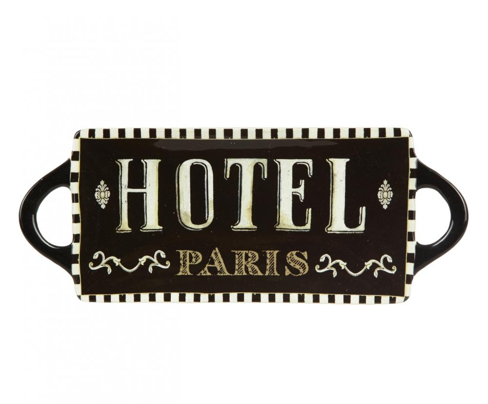 Блюдо Certified International Hotel Paris, 40 см х 16 см1193698_рис. 4Изящное прямоугольное блюдо Certified International Hotel Paris изготовлено из высококачественной керамики, которая отличается практичностью и высоким качеством исполнения. Изделие, украшенное надписью Hotel Paris, расписано вручную и покрыто глазурью, выполнено из экологически чистых материалов, что обеспечивает сохранение отменного вкуса блюд. Эта керамическая посуда химически инертна, не вступает в реакцию с пищей, не выделяет вредных веществ, при перегреве. Блюдо оснащено ручками. Такое блюдо прекрасно оформит праздничный стол и станет желанным подарком для любой хозяйки. Размер: 40 см х 16 см х 2,5 см.