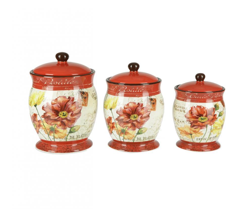 Набор из 3-х банок 1,2 л., 2,0 л., 2,5 л. Парижские маки, наборVT-1520(SR)Американскую керамику отличает практичность и высокое качество исполнения каждого изделия. Посуда расписана вручную и покрыта глазурью, выполнена из экологически чистых материалов, что обеспечивает сохранение отменного вкуса каждого блюда и его длительное хранение. Эта керамическая посуда химически инертна, не вступает в реакцию с пищей, не выделяет вредных веществ при перегреве.