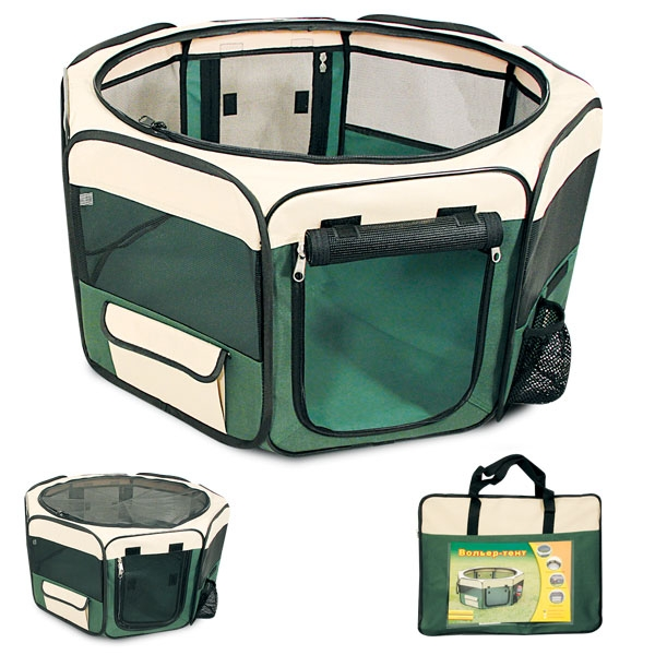 Вольер-тент для собак, 116 см х 116 см х 49 смES-412Вольер-тент для собак, изготовленный из прочного водонепроницаемого материала, незаменим в путешествии, дома или на улице. Вольер оснащен двумя входами, закрывающимися на застежку-молнию, а также большим боковым карманом с клапаном на липучке и карманом для бутылки с водой. Сверху на застежку-молнию пристегивается сетчатая крыша. Пол прикрепляется на липучках, благодаря чему его можно легко отстегнуть и постирать. Запатентованная конструкция дает возможность легко и быстро собрать вольер и вложить его в удобную сумку-чехол. Такой вольер-тент - это лучший выбор для ваших четвероногих друзей!Размер вольера-тента: 116 см х 116 см х 49 см.
