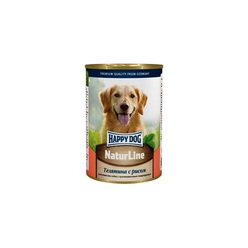 Консервы для собак Happy Dog, с телятиной и рисом, кусочки в соусе, 400 г700903Натуральный консервированный корм Happy Dog Natur Line с телятиной и рисом подходит для кормления взрослых собак. Уникальная сбалансированная рецептура консервов соответствует потребностям взрослых животных, чтобы вместе с питанием питомец получал достаточное количество питательных веществ. Немаловажно, что в состав консервов входит ограниченное число ингредиентов, поэтому вероятность возникновения аллергии сводится к минимуму. В том числе несомненным преимуществом рациона является отсутствие в нем сои, а также искусственных красителей и консервантов. Превосходное сочетание высококачественной телятины и риса наделяет консервы для собак Happy Dog Natur Line отменным вкусом и ароматом, чтобы даже самый привередливый гурман с удовольствием съедал всю порцию корма, что очень важно для хорошего самочувствия животного. Телятина является одним из самых полезных и диетических видов мяса. Экстрактивные вещества способствуют выделению желудочного сока и тем самым содействуют улучшению пищеварения. А входящие в состав телятины витамины и минералы помогут защитить клетки от разрушения свободными радикалами, нормализуют обменные процессы, укрепят иммунную систему, будут содействовать нормальной работе центральной нервной и сердечно-сосудистой систем, укрепят скелет, сделают кожу здоровой и эластичной, а шерсть крепкой и красивой. Рис является гипоаллергенным злаком, который хорошо переносится животными благодаря отсутствию в составе клейковины. В том числе положительные свойства риса обусловлены наличием в составе лецитина, калия, цинка, фосфора, кальция, витаминов B1, B2, B3 и B6, а также других витаминов и минералов. Лецитин участвует в жировом обмене, необходим для нормальной работы ЦНС и печени, отвечает за транспортировку питательных веществ. Тиамин поддерживает иммунитет, преобразует белки, жиры и углеводы в энергию и, как и лецитин, содействует нормальной работе нервной системы. Ниацин также уч