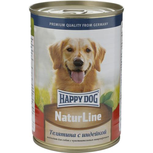 Консервы для собак Happy Dog Natur, с телятиной и индейкой, 400 г. 1588115881Консервы для собак Happy Dog Natur предназначены для кормления взрослых собак всех пород. Основу рациона собаки должно составлять мясо, ведь именно мясо является источником животного белка - необходимого строительного материала всего организма. Консервы для собак Happy Dog Natur с телятиной и индейкой не содержат сою, искусственные красители и консерванты и приготовлены из ограниченного числа ингредиентов, поэтому вам не составит труда исключить из рациона вашего питомца все потенциальные аллергены. В основе консервов находится высококачественная телятина и индейка, которые придутся по вкусу каждому, даже самому разборчивому в еде животному. Телятина богата качественным белком, витаминами, минералами и содержит лишь небольшое количество холестерина, что положительно сказывается на здоровье сердечно-сосудистой системы. Среди входящих в состав телятины витаминов можно выделить витамины группы B, необходимые для нормальной работы ЦНС и протекающих в организме обменных процессов, антиоксиданты (витамин C и E), защищающие клетки от свободных радикалов и замедляющие процесс старения, и ниацин, способствующий выделению энергии для белкового обмена. В том числе телятина содержит такие важные минералы, как магний, натрий, цинк, калий и другие. Магний участвует в обменных процессах, выработке энергии, способствует очищению организма и регулирует деятельность мышц, а в комплексе с кальцием и фосфором участвует в формировании костей. Натрий активно взаимодействует с другими макро- и микроэлементами. Цинк среди прочего оказывает благоприятное воздействие на кожу и шерсть. Калий регулирует водно-солевой обмен, содействует преобразования глюкозы в энергию и необходим для сокращения мышц. Индейка служит источником легкоусвояемого белка, практически всех витаминов группы B, витамина A, E, PP и основных минералов.Состав: телятина, индейка, витаминно-минеральная комплекс, растительное масло.Питательные вещест