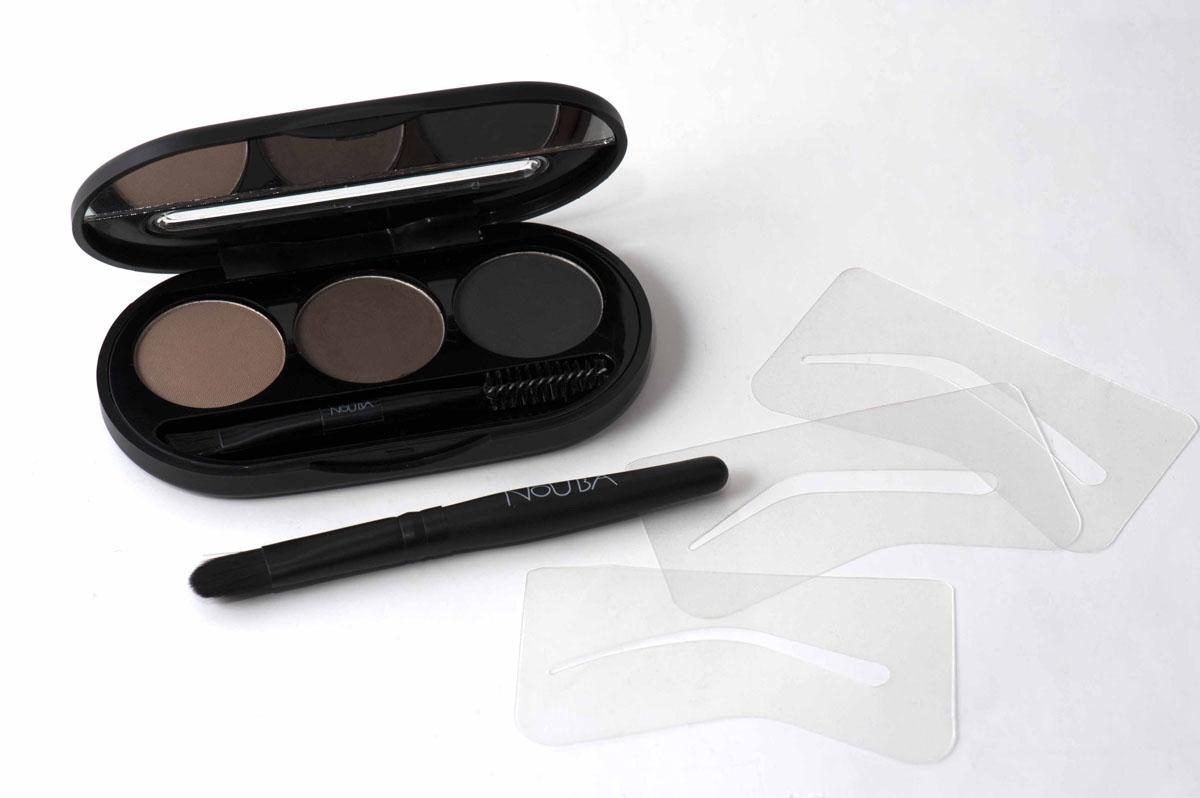 NoUBA Набор теней для бровей Eyebrow Powder Kit, 3 цвета, тон №01, 3 г15032030Тени для бровей позволят очертить форму бровей, усилить или скорректировать их цвет. 3 оттенка, представленные в наборе, можно использовать как по отдельности, так и смешивать друг с другом до получения идеального тона, который подходит именно вам! В набор входят 3 трафарета, аппликатор и двустороння кисть (со спиралевидными и плоскими щетинками) для нанесения теней.Товар сертифицирован.