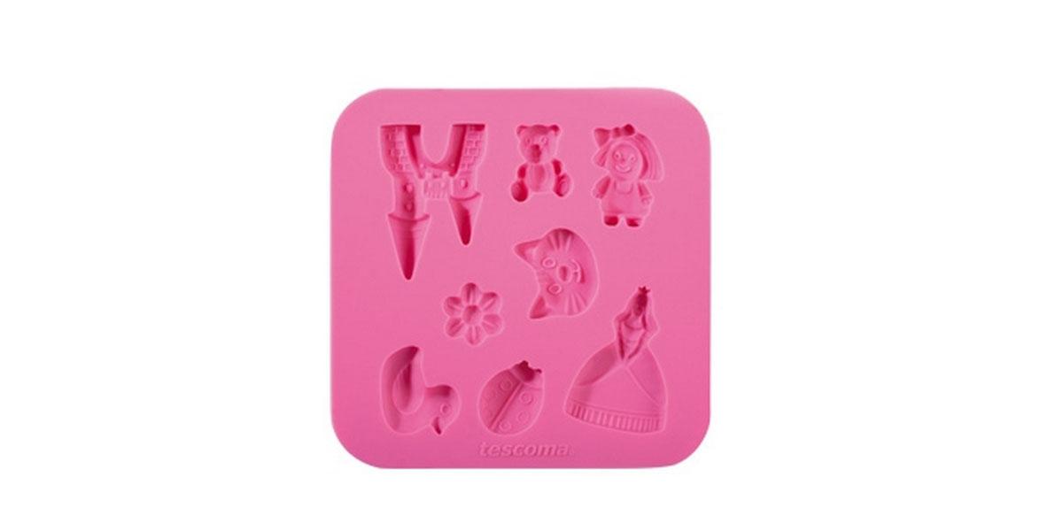 Форма для украшения выпечки Tescoma Для девочек, 8 ячеек94672Форма Tescoma Для девочек отлично подходит для украшения выпечки фигурками из марципана или помадки. Необходимо поставить заполненные формы в морозильник на 5-10 минут, а затем вытащить их, мягко нажав на дно формы.Форма изготовлена из превосходного гибкого силикона. На одном листе расположены 8 ячеек в виде замка, принцессы, утки, цветка. Можно мыть в посудомоечной машине.