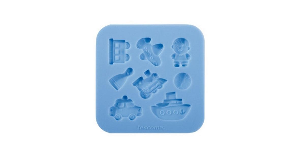 Форма для украшения выпечки Tescoma Для мальчиков, 8 ячеек54 009312Форма Tescoma Для мальчиков отлично подходит для украшения выпечки фигурками из марципана или помадки. Необходимо поставить заполненные формы в морозильник на 5-10 минут, а затем вытащить их, мягко нажав на дно формы. Форма изготовлена из превосходного гибкого силикона. На одном листе расположены 8 ячеек в виде самолета, футбольного мяча, корабля, вагончика.Можно мыть в посудомоечной машине.