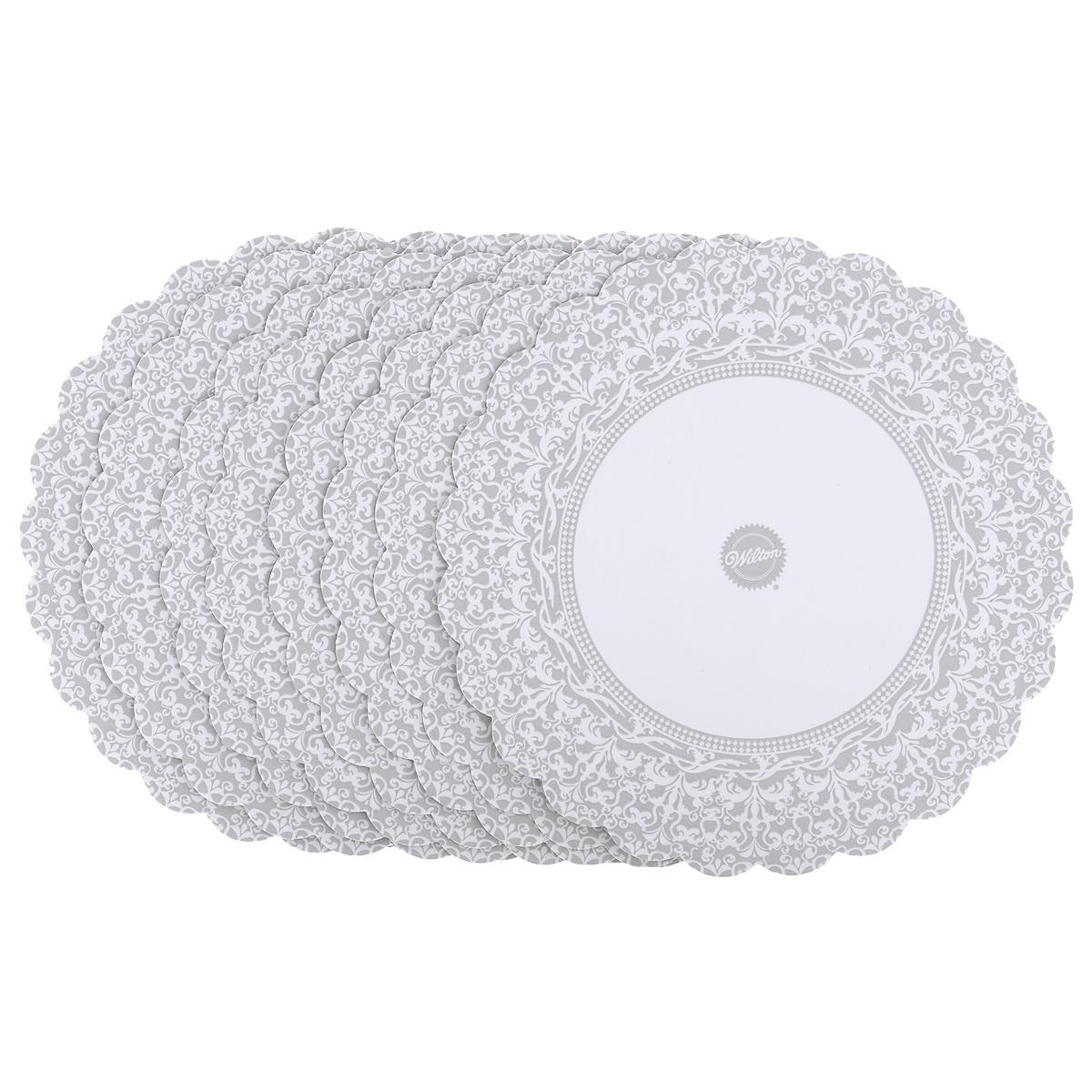 Основа для торта Wilton, круглая, цвет: серебристый, диаметр 30 см, 8 шт. WLT-2104-1176115510Набор специальных салфеток под торт Wilton выполнен из плотного гофрокартона с жироустойчивым покрытием. Кружевной край создаст красивое обрамление и основу торту.