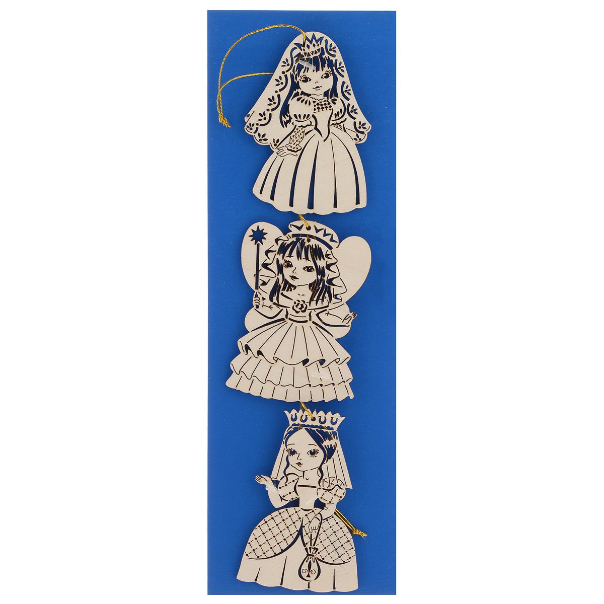 Набор новогодних подвесных украшений Принцессы 3, 3 предмета68/7/3Набор Принцессы 3 состоит из 3 подвесных украшений, выполненных из экологичного шпона ценных пород древесины с применением лазерной резки. Оригинальные новогодние украшения в виде принцесс прекрасно подойдут для праздничного декора дома и новогодней ели. С помощью специальной петельки их можно повесить в любом понравившемся вам месте. Но, конечно, удачнее всего такие игрушки будут смотреться на праздничной елке. Елочная игрушка - символ Нового года и Рождества. Она несет в себе волшебство и красоту праздника. Создайте в своем доме атмосферу веселья и радости, украшая новогоднюю елку нарядными игрушками, которые будут из года в год накапливать теплоту воспоминаний. Средний размер украшения: 6,5 см х 9 см х 0,4 см.